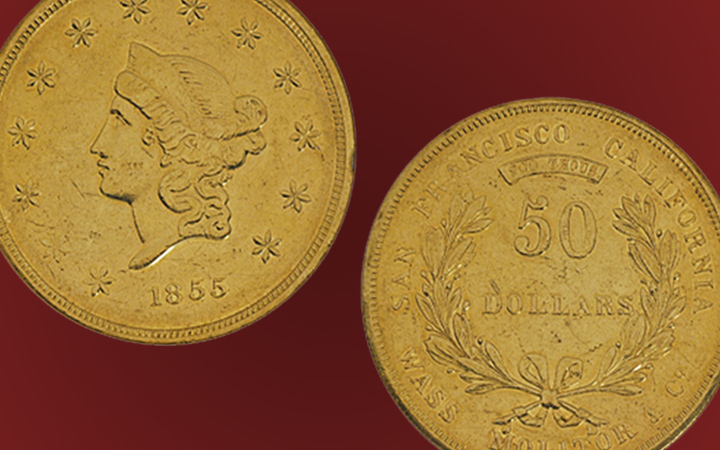 1855, Wass, Molitor and Co., 50 DOLLARS Gold