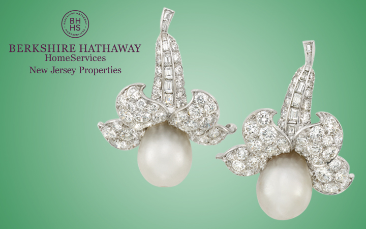 Pair of Diamond and Pearl Pendant Earrings, Van Cleef and Arpels