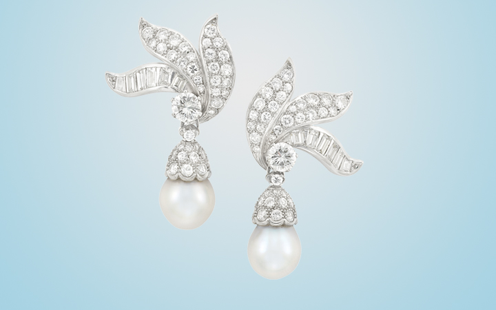 Diamond and Pearl Pendant Earclips