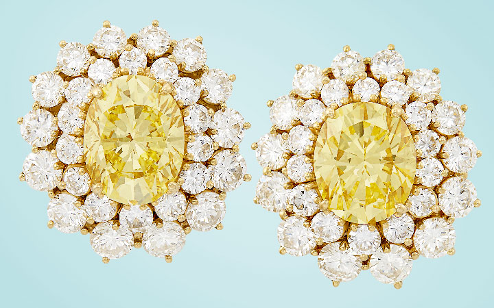 Fancy Yellow Diamond and Diamond Earclips