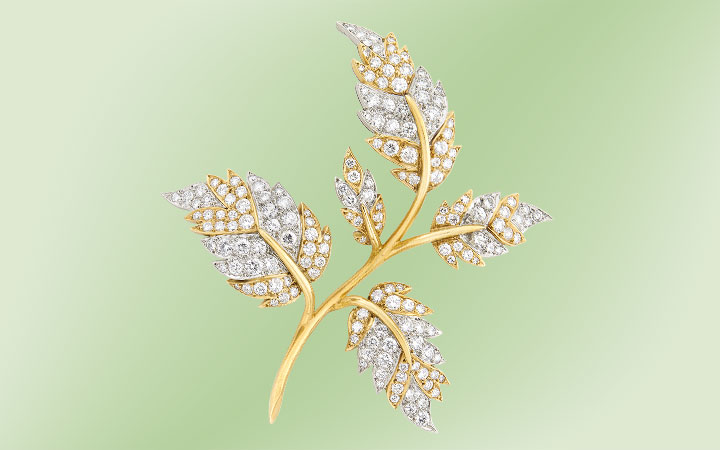 Tiffany and Co. Schlumberger Gold and Diamond Leaf Brooch
