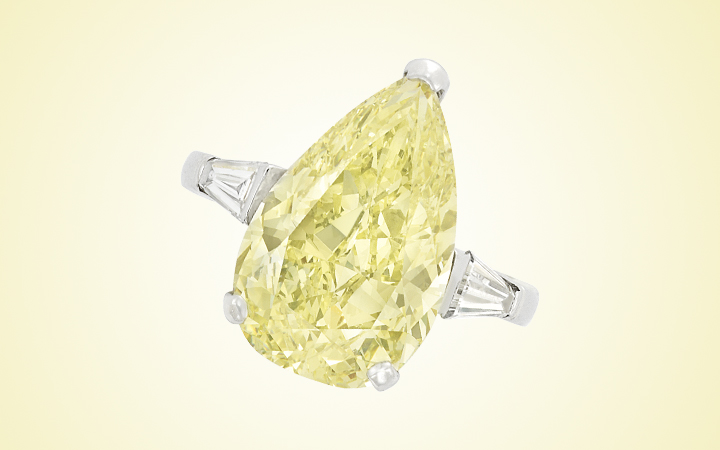 Fancy Yellow Diamond and Diamond Ring