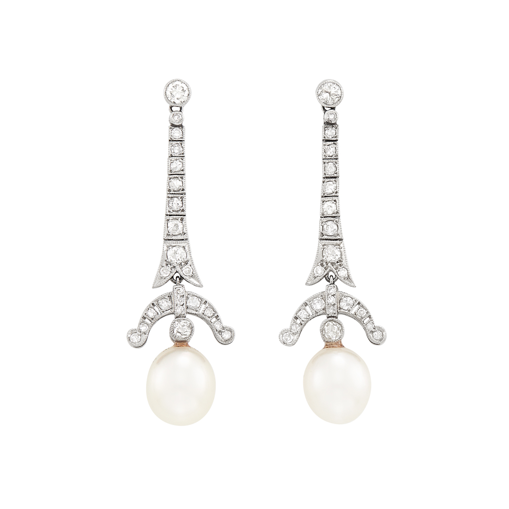 Lot image - Pair of Art Deco Platinum, Diamond and Cultured Pearl Earrings