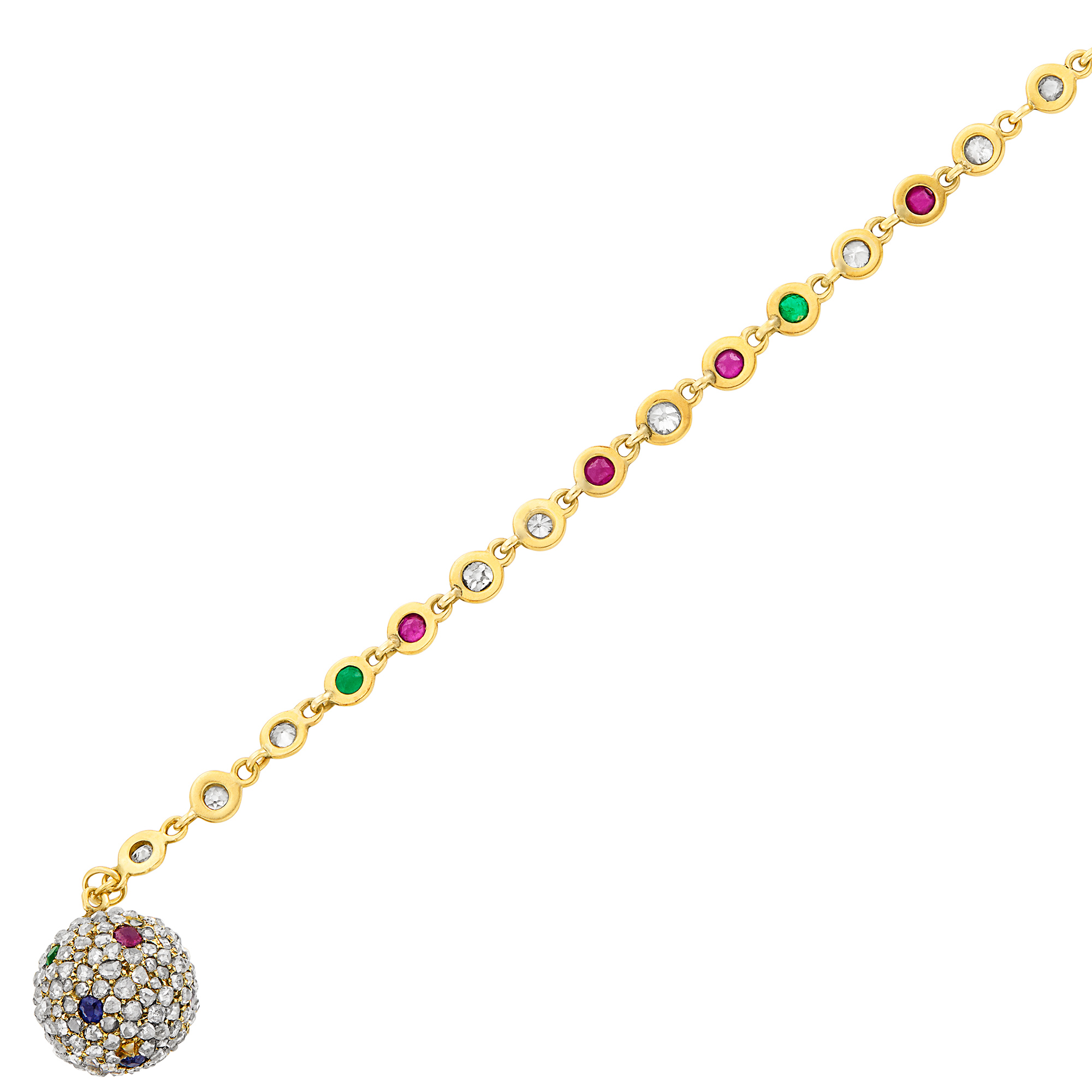 Lot image - Gold, Diamond and Gem-Set Bracelet with Antique Ball Charm