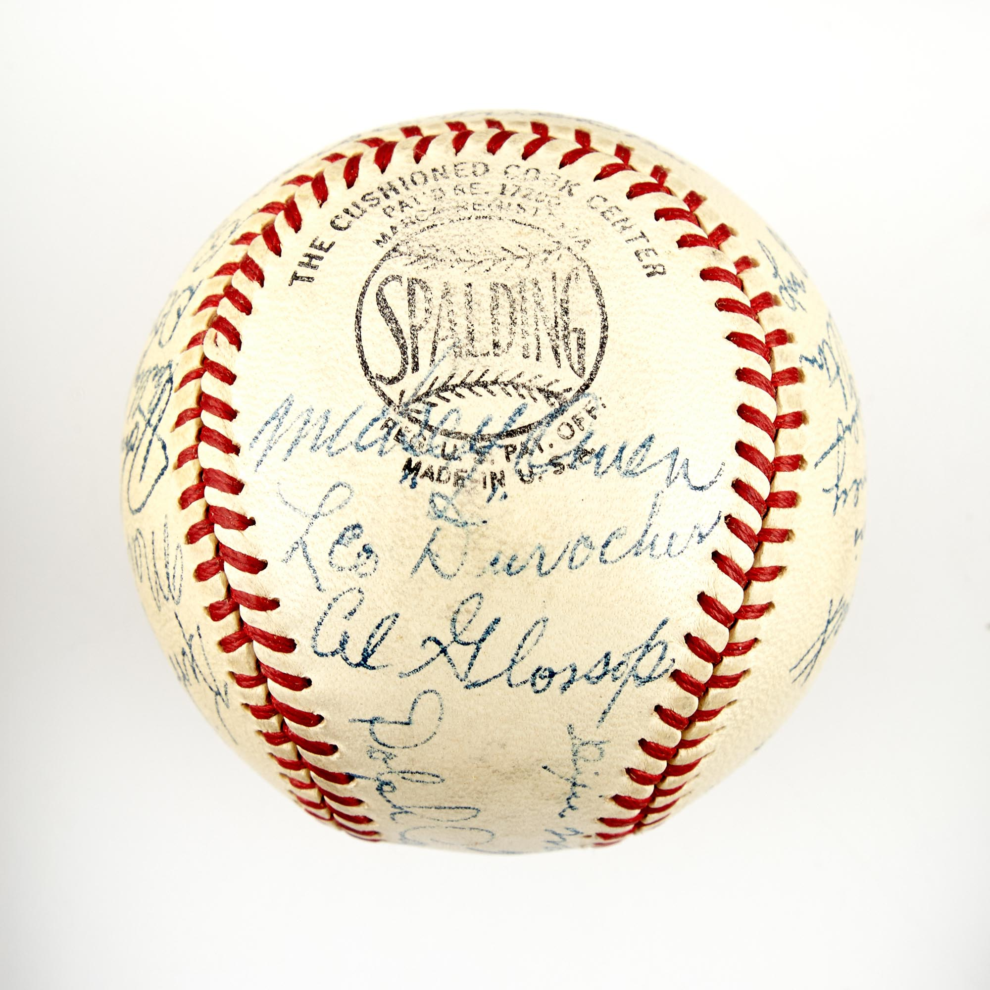 Lot image - [BASEBALL]  Brooklyn Dodgers team signed baseball, circa 1943.