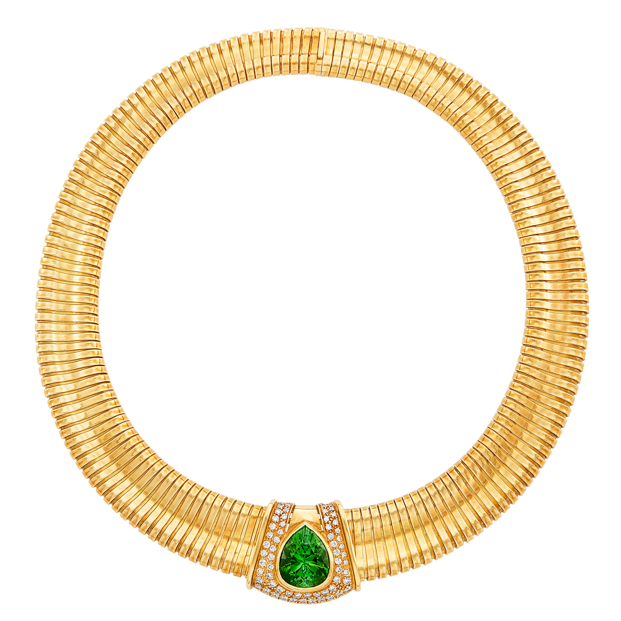 Lot image - Snake Link Necklace with Gold, Tourmaline and Diamond Enhancer, Giuseppe Petochi