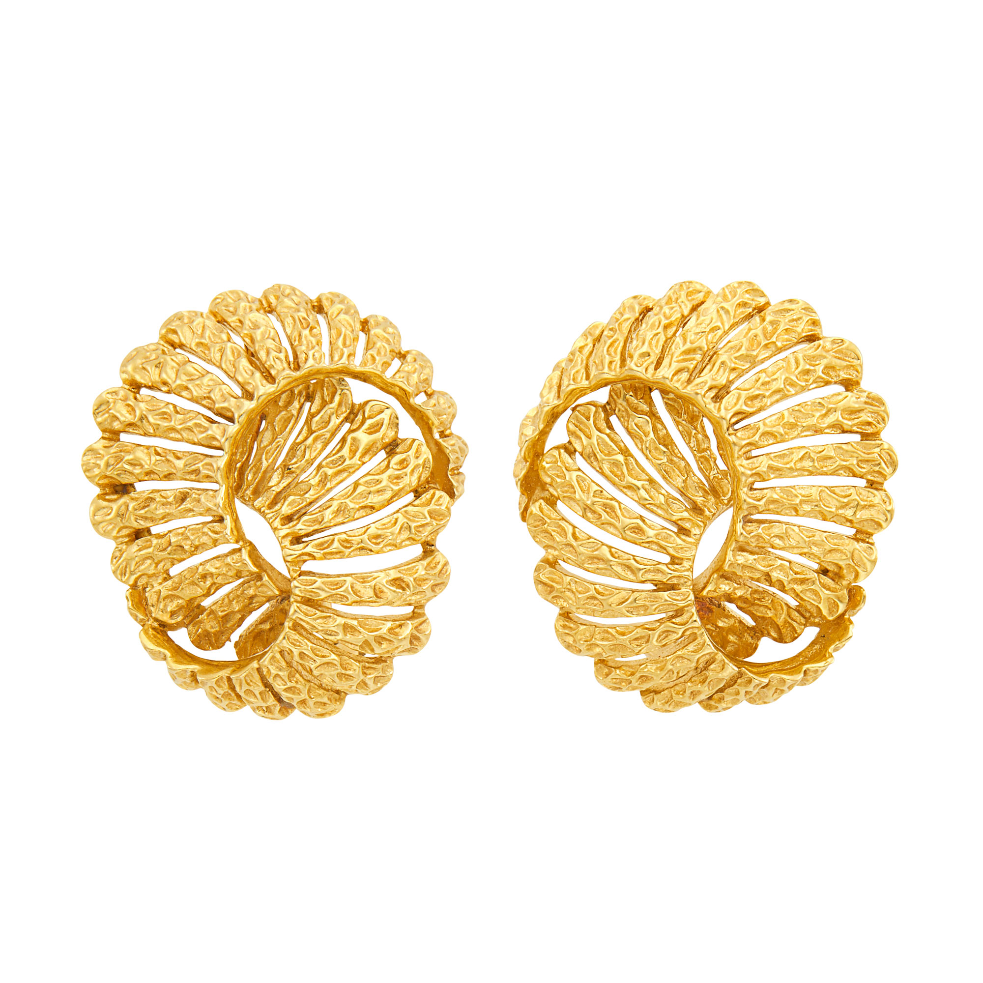Lot image - Pair of Gold Earclips, Tiffany & Co.