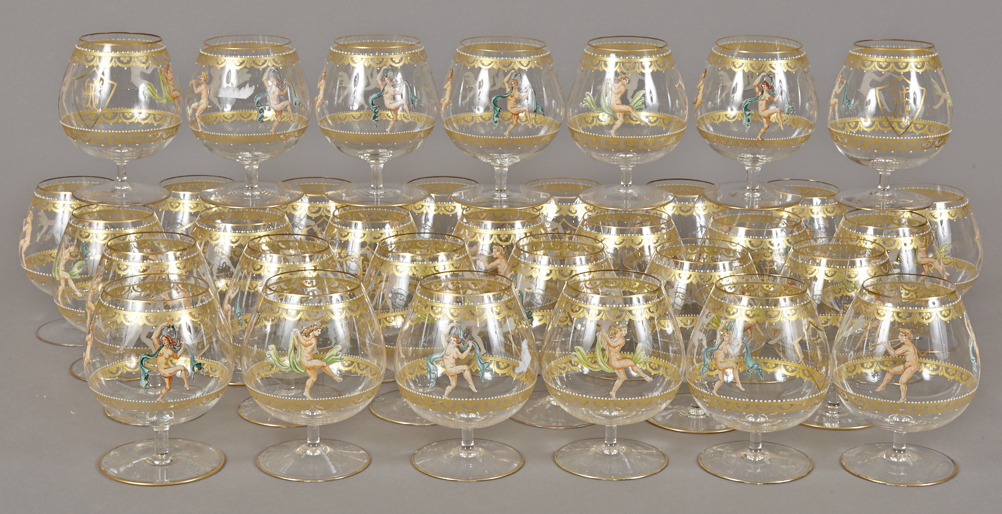 Lot image - Set of Thirty-Four Monogramed Glass Brandy Snifters from the Henry Ford II Service