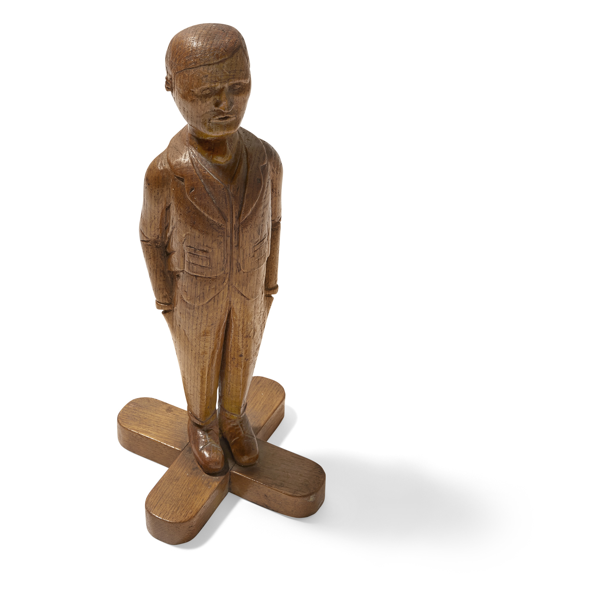 Lot image - Carved Wood Figure of a Man