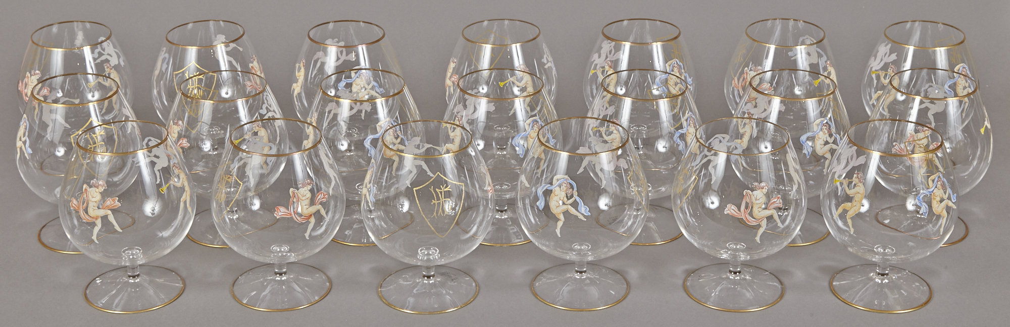 Lot image - Set of Twenty Monogramed Glass Brandy Snifters from the Henry Ford II Service