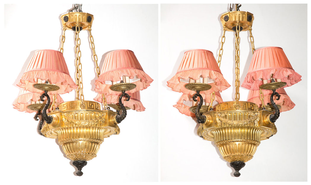 Lot image - Pair of Louis XVI Style Gilt and Patinated-Bronze and Metal Twelve-Light Chandeliers with Pink Silk Pleated Shades by Denning & Fourcade, Inc.