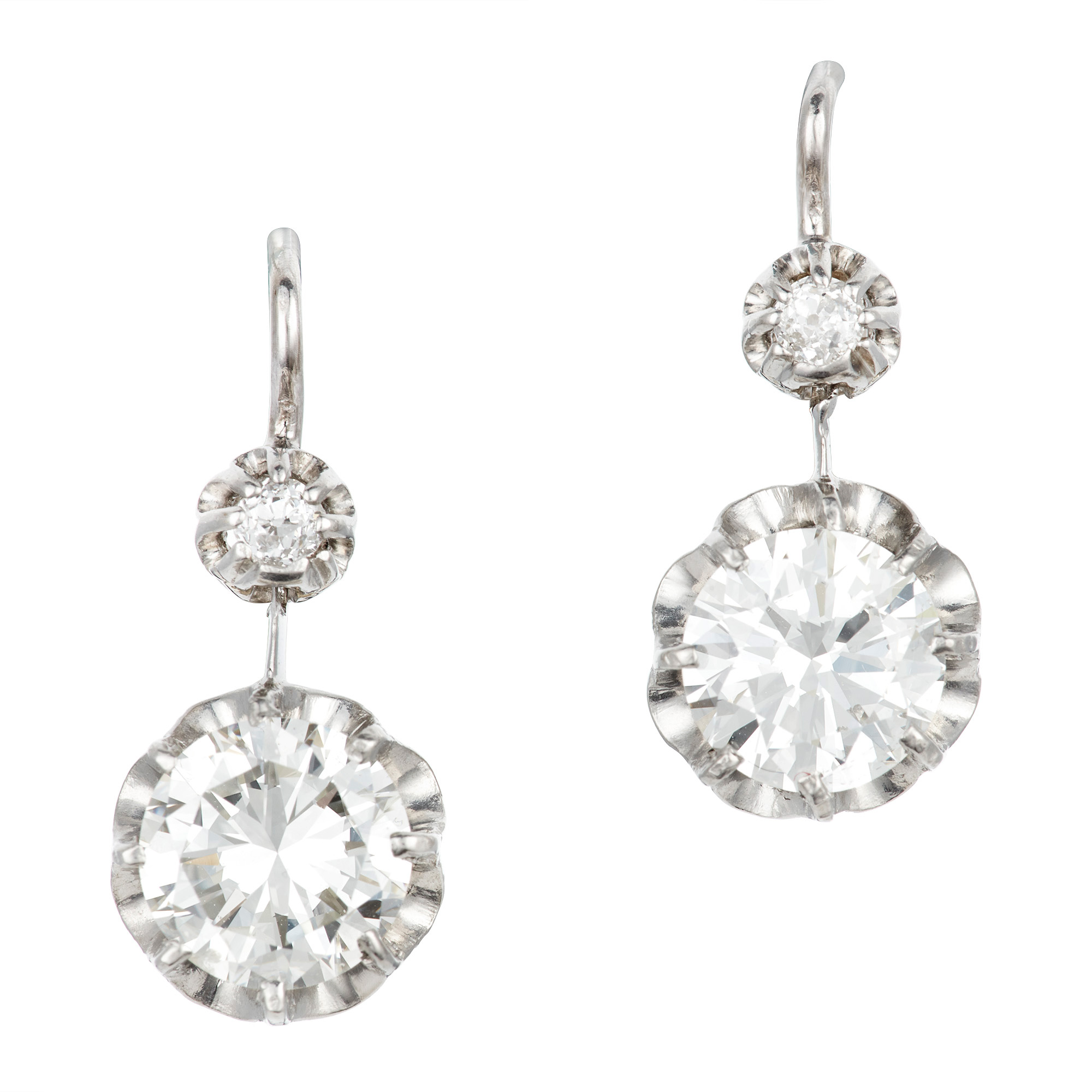 Lot image - Pair of Platinum and Diamond Pendant-Earrings