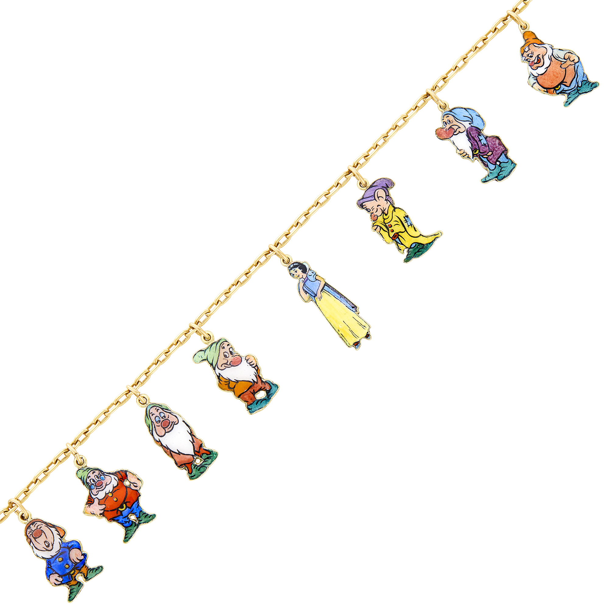 Lot image - Cartier, Disney Gold and Enamel Snow White and the Seven Dwarfs Charm Bracelet