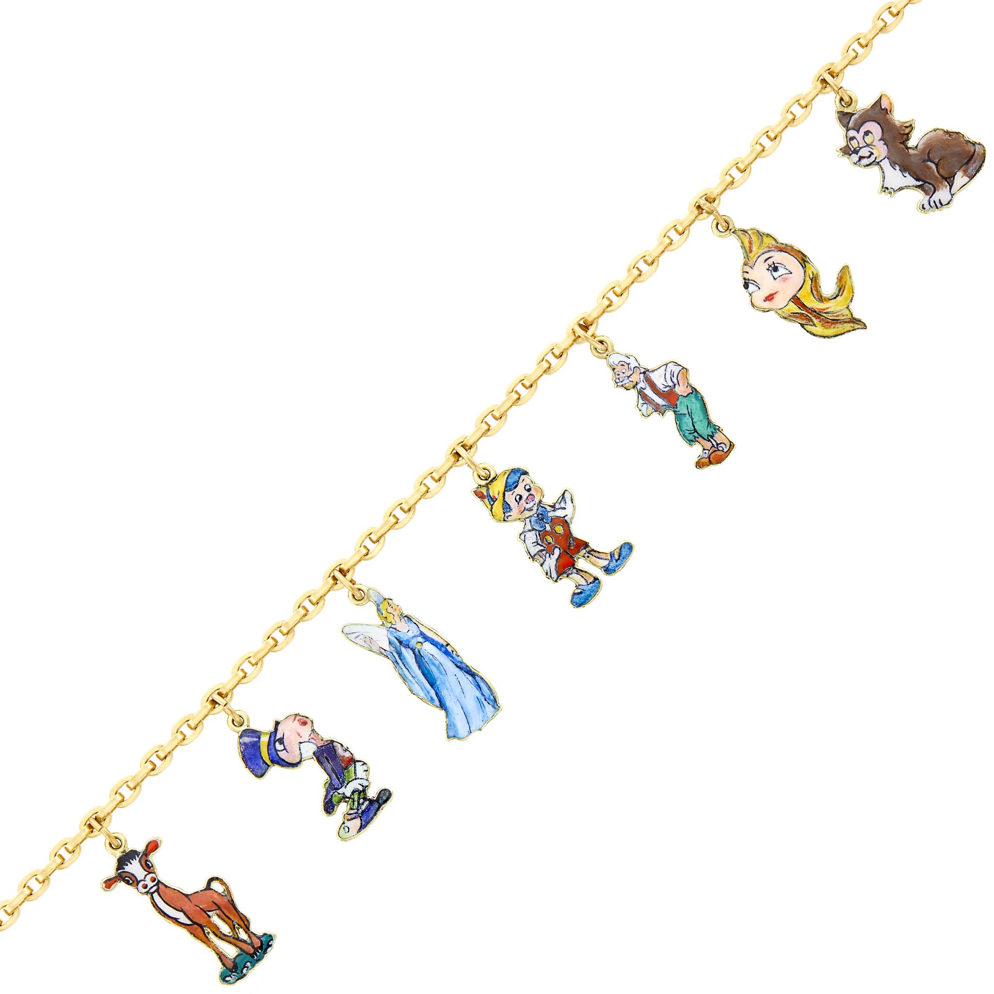 Lot image - Cartier, Disney Gold and Enamel Pinocchio Charm Bracelet