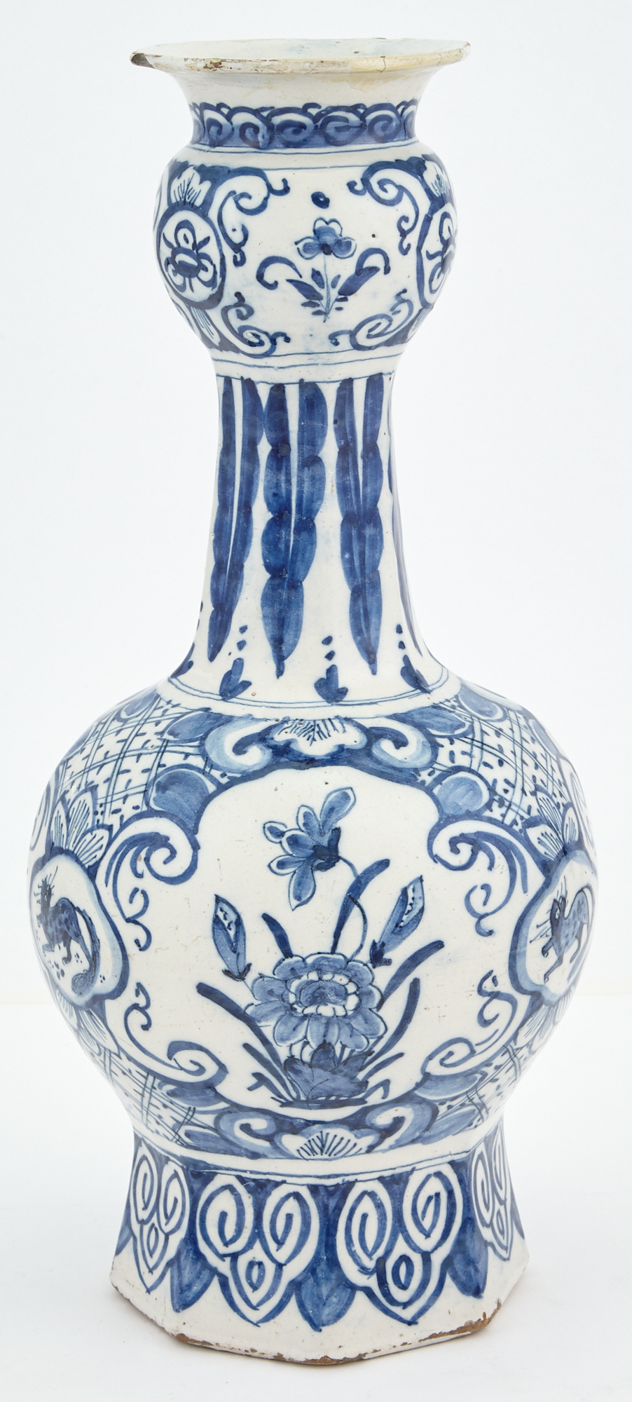 Lot image - Delft Pottery Bottle Vase