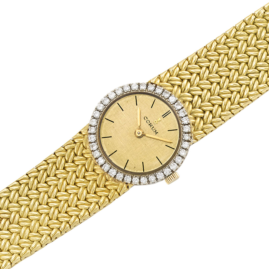 Lot image - Two-Color Gold and Diamond Mesh Wristwatch, Corum