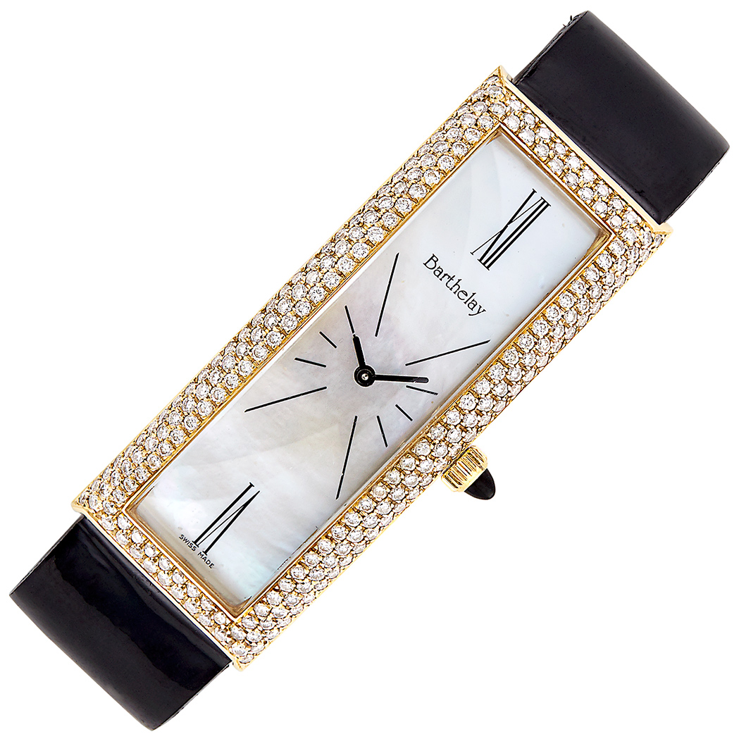 Lot image - Gold, Mother-of-Pearl and Diamond Wristwatch, Alexis Barthelay, France