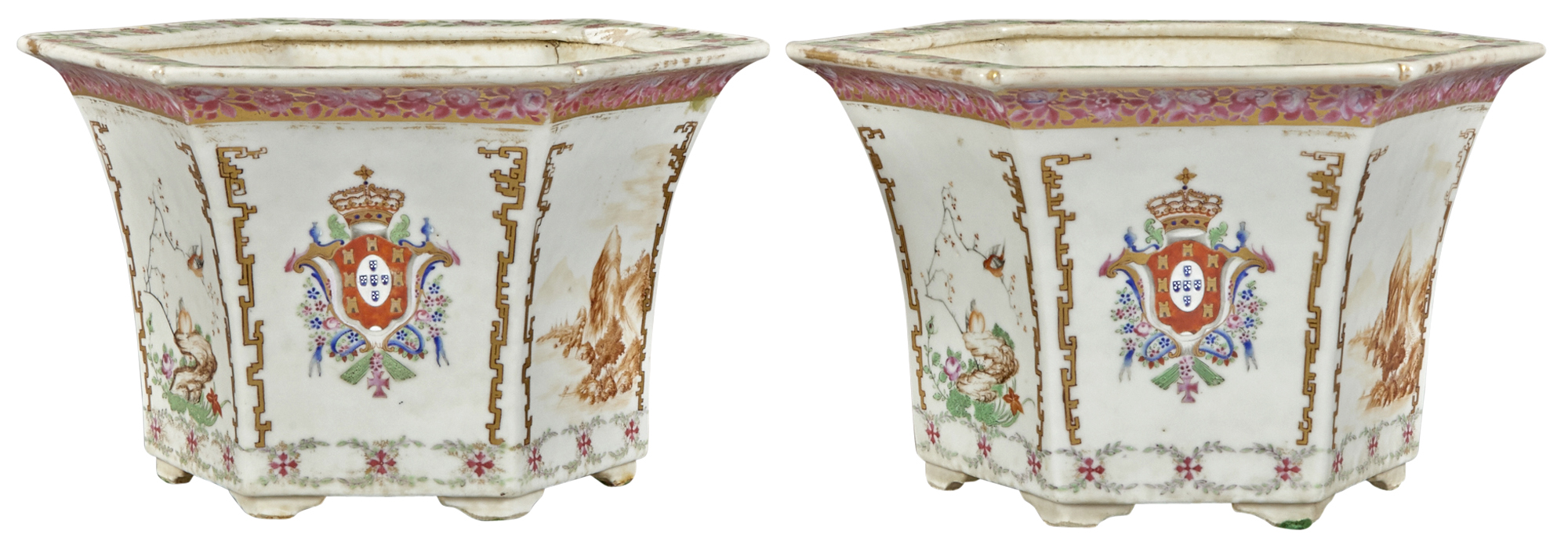 Lot image - Pair of Chinese Export Style Armorial Porcelain Jardinieres