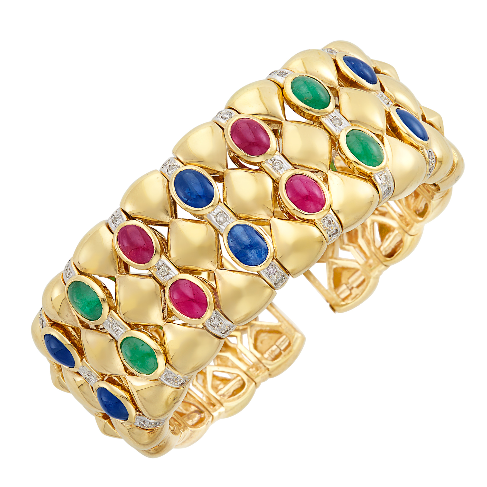 Lot image - Gold, Cabochon Colored Stone and Diamond Cuff Bracelet