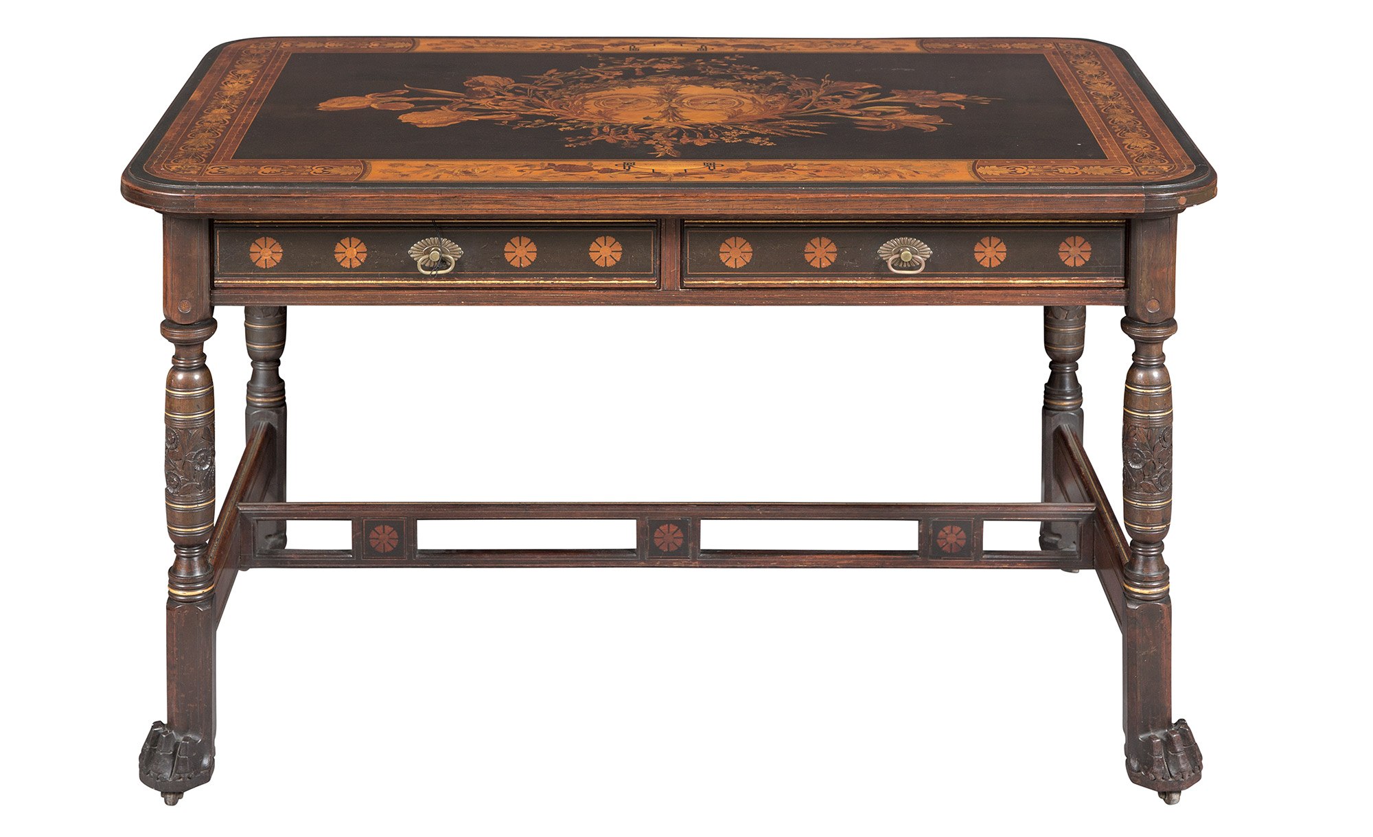 Lot image - Herter Brothers Aesthetic Movement Rosewood, Marquetry and Parcel-Gilt Inlaid Center Table