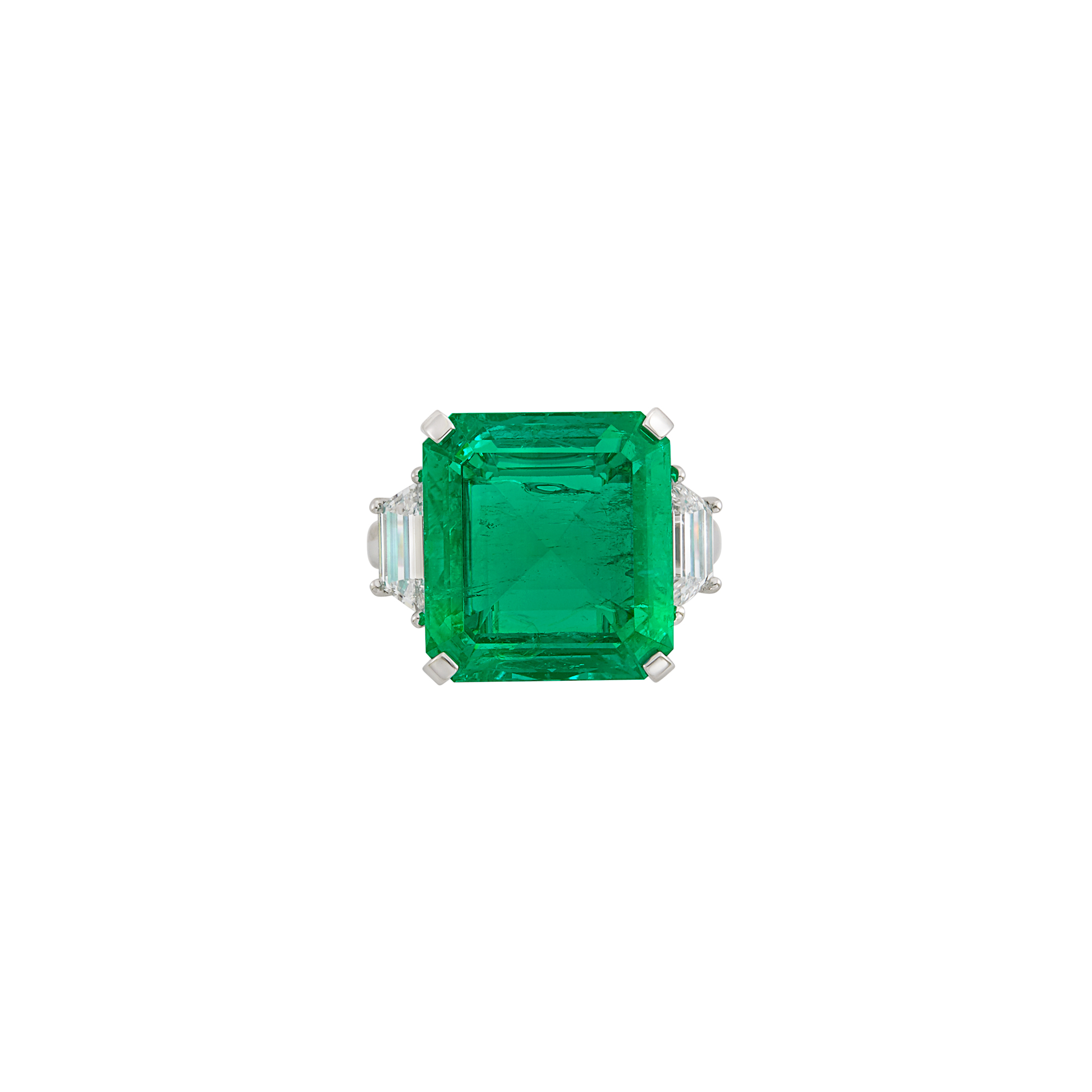 Lot image - Platinum, Emerald and Diamond Ring, Harry Winston