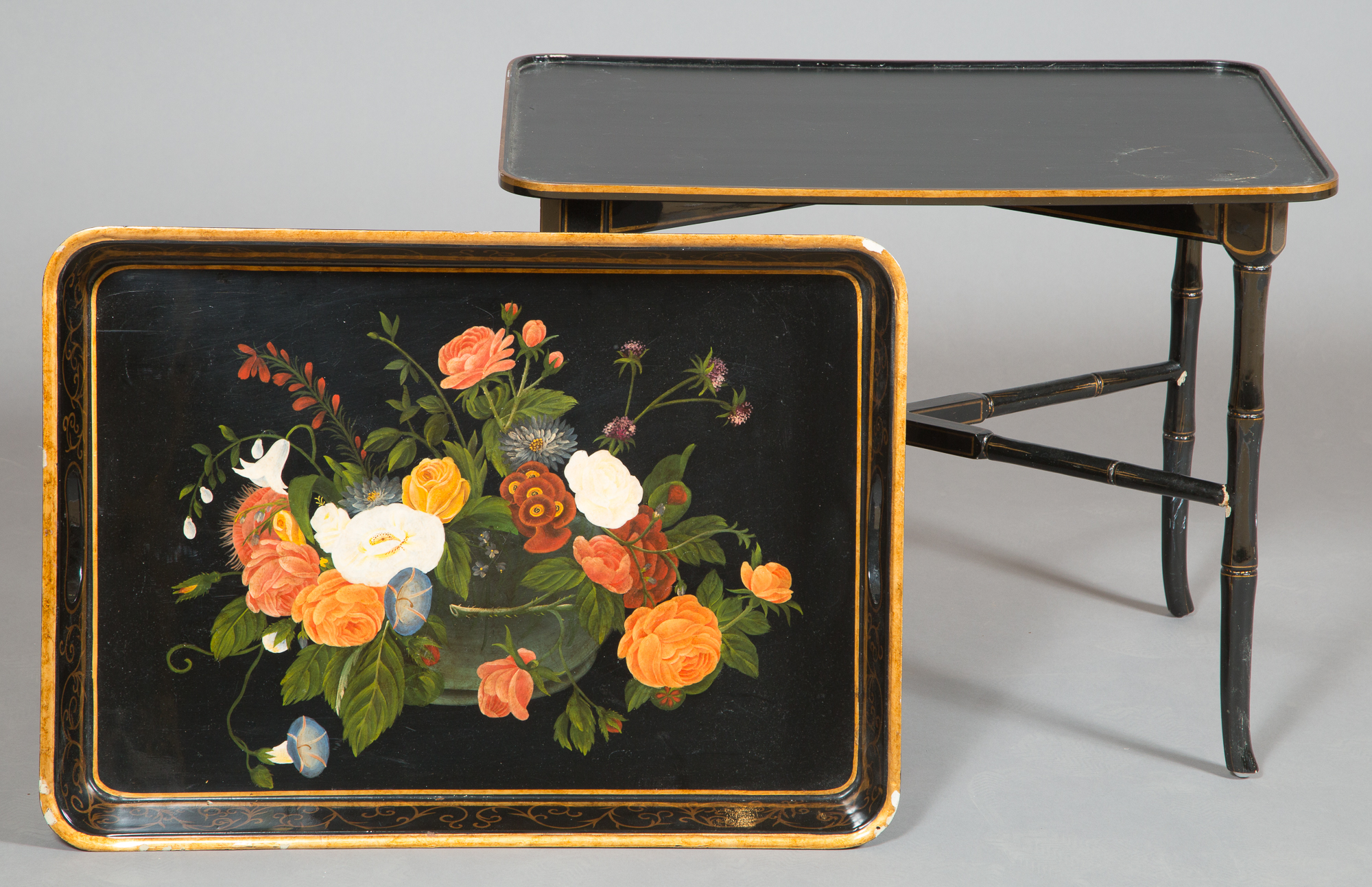 Lot image - Victorian Style Floral Decorated Black Lacquer Tray on Stand