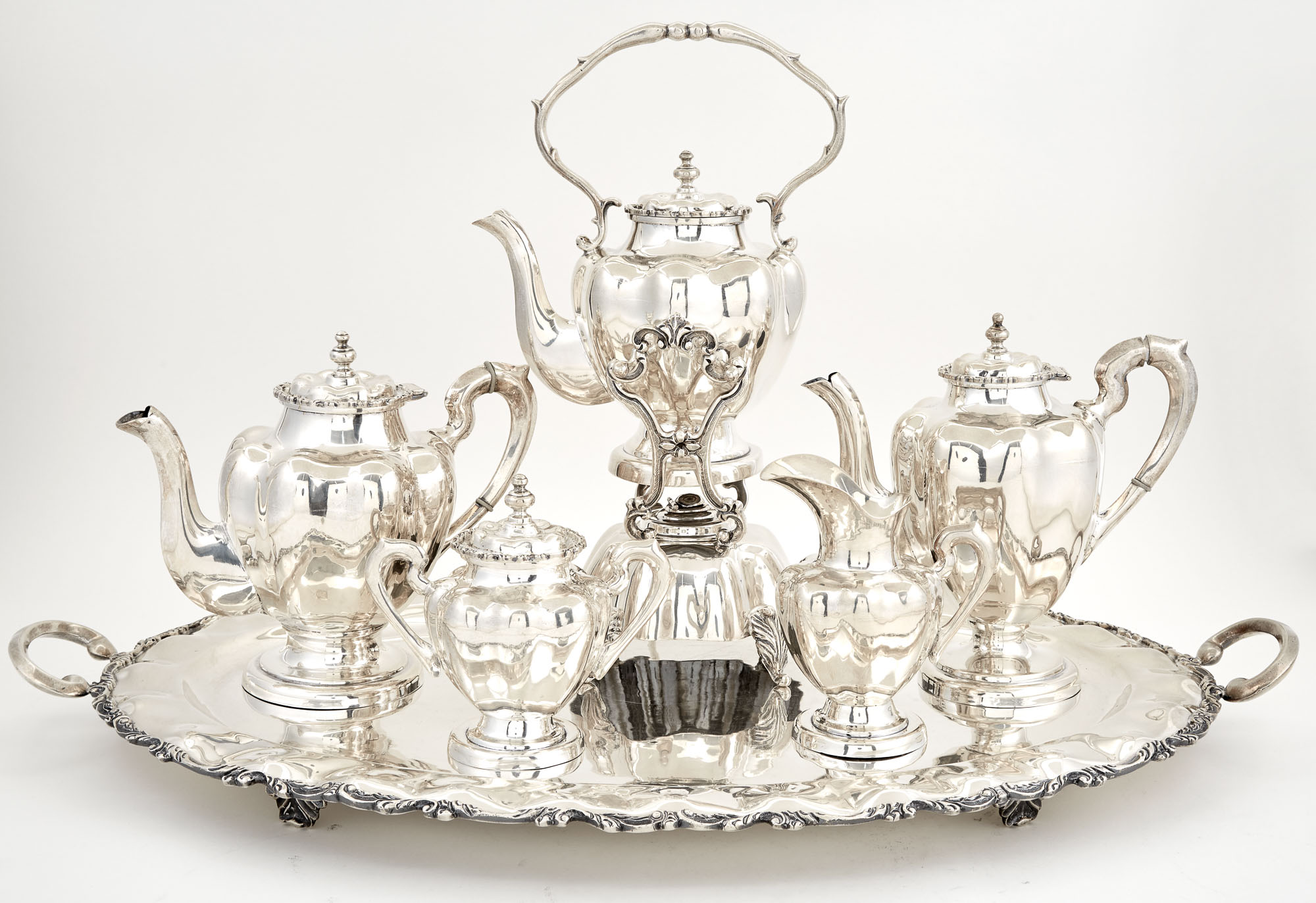 Lot image - Mexican Sterling Silver Six-Piece Tea and Coffee Service