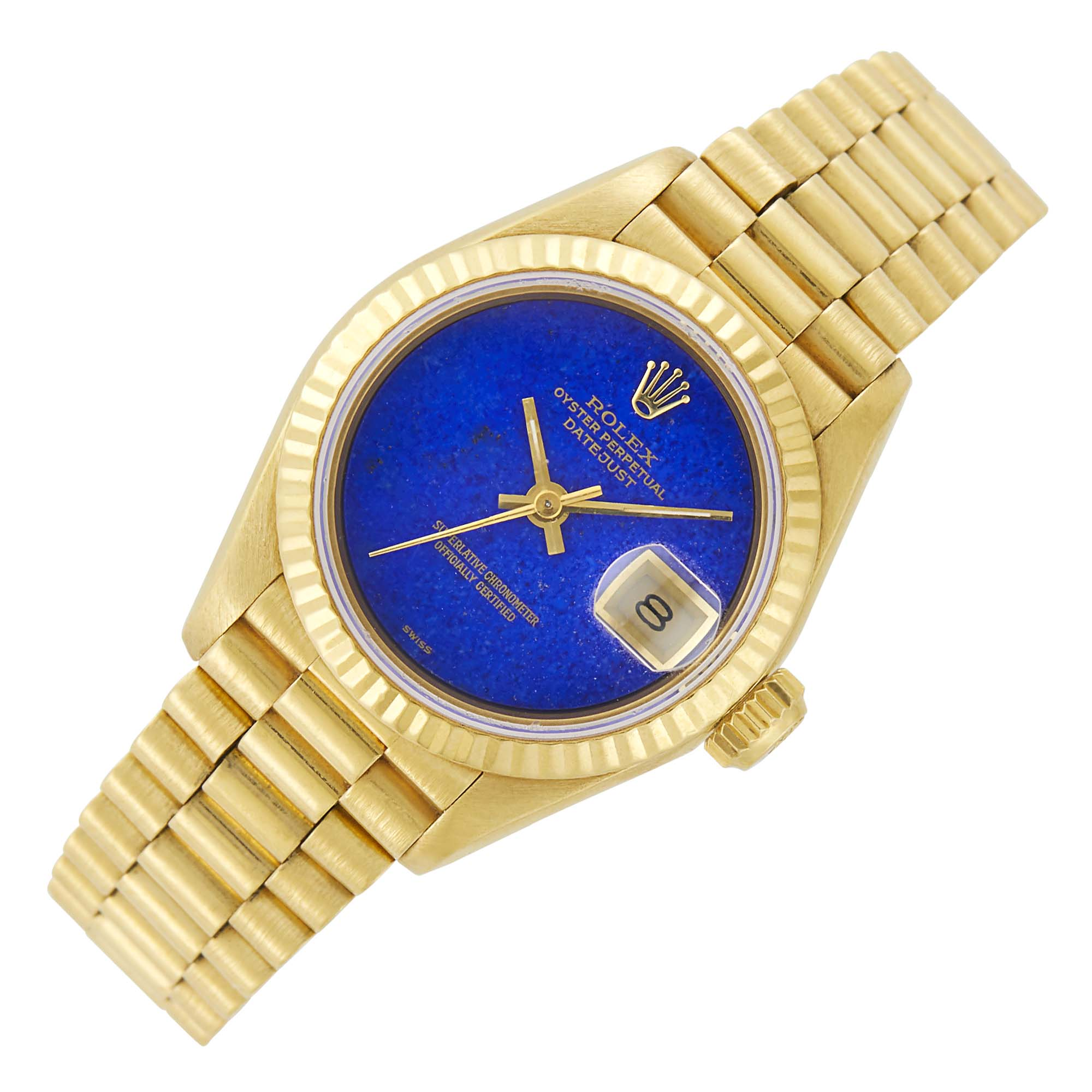 Lot image - Rolex Gold and Lapis Oyster Perpetual Datejust Wristwatch, Ref. 69178