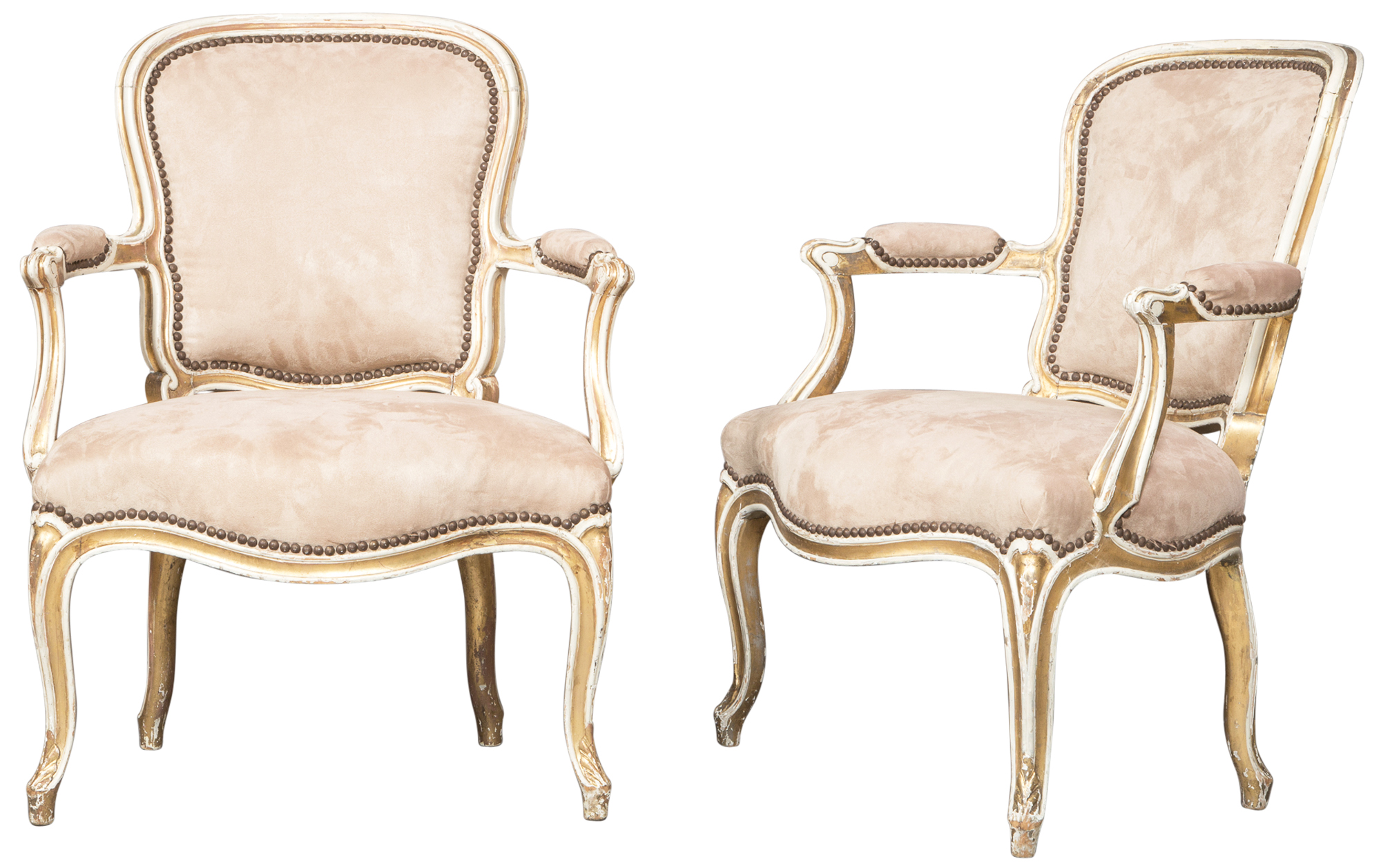 Lot image - Pair of George III Painted and Parcel Gilt Armchairs