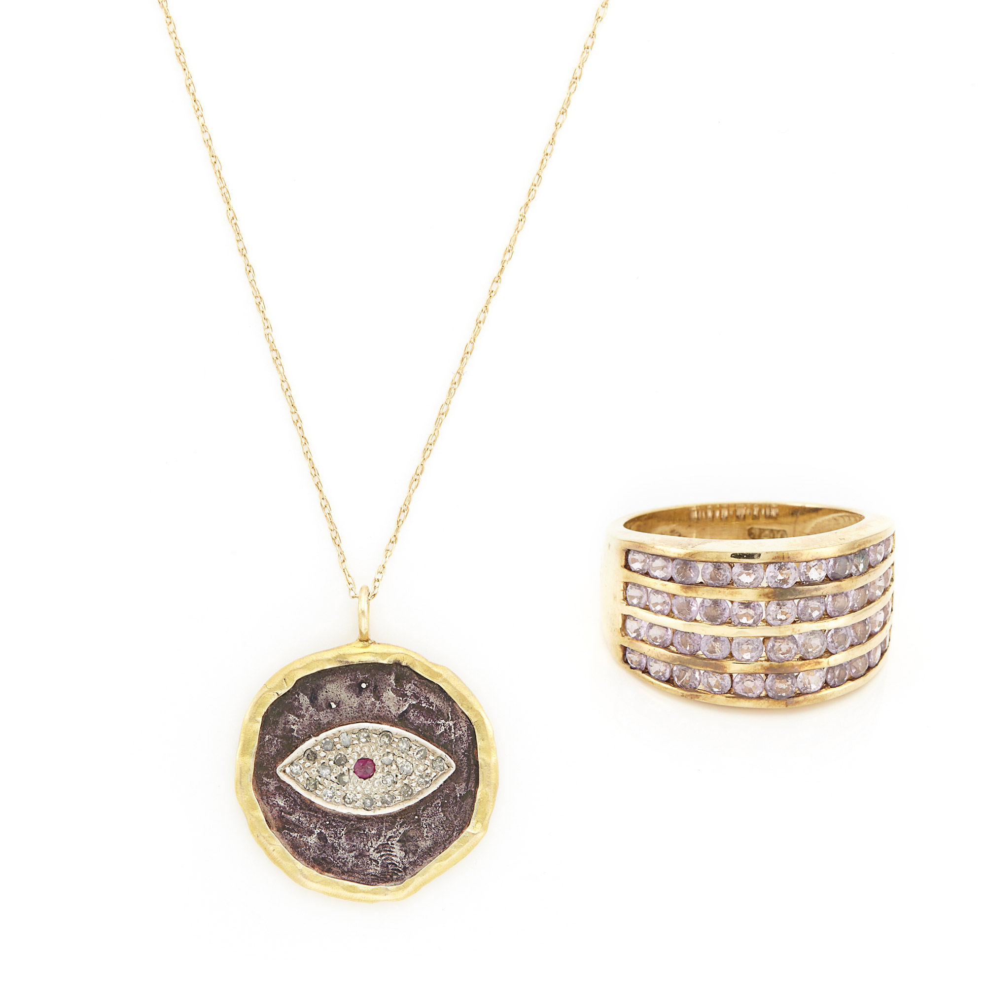 Lot image - Gold, Silver and Diamond Evil Eye and Cross Pendant with Chain Necklace and Gold and Amethyst Ring