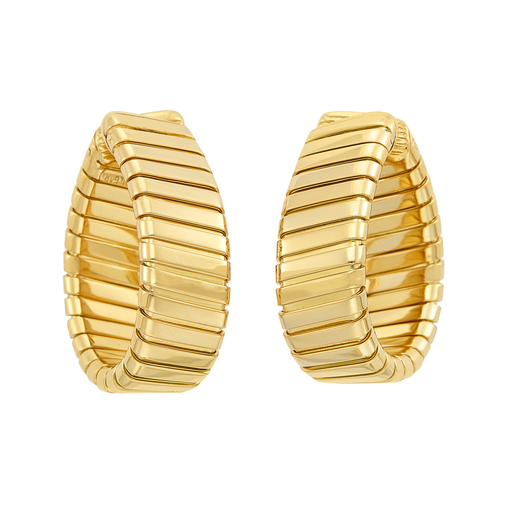 Lot image - Pair of Gold Tubogas Hoop Earclips, Bulgari