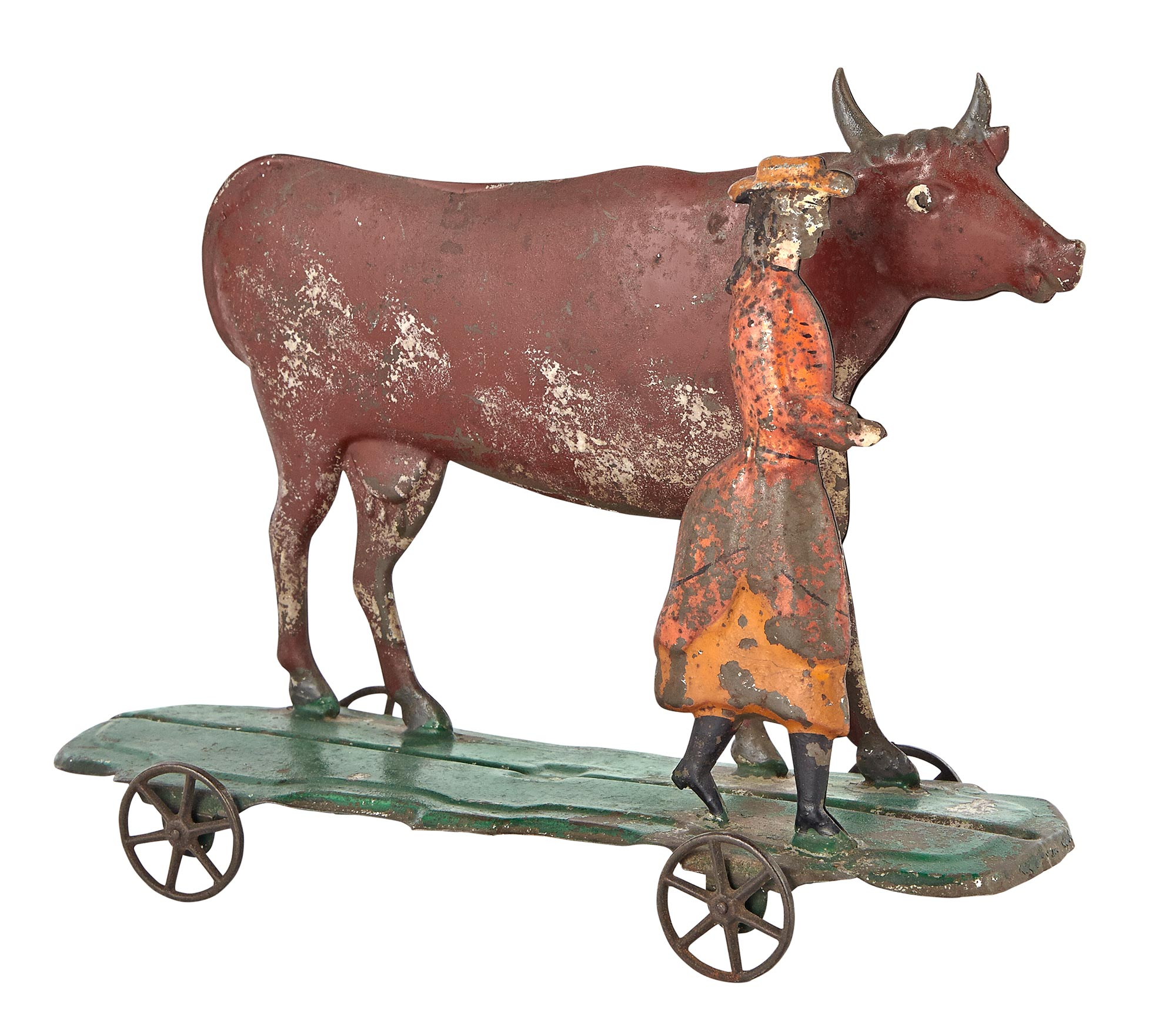 Lot image - Woman and Cow Tin Toy