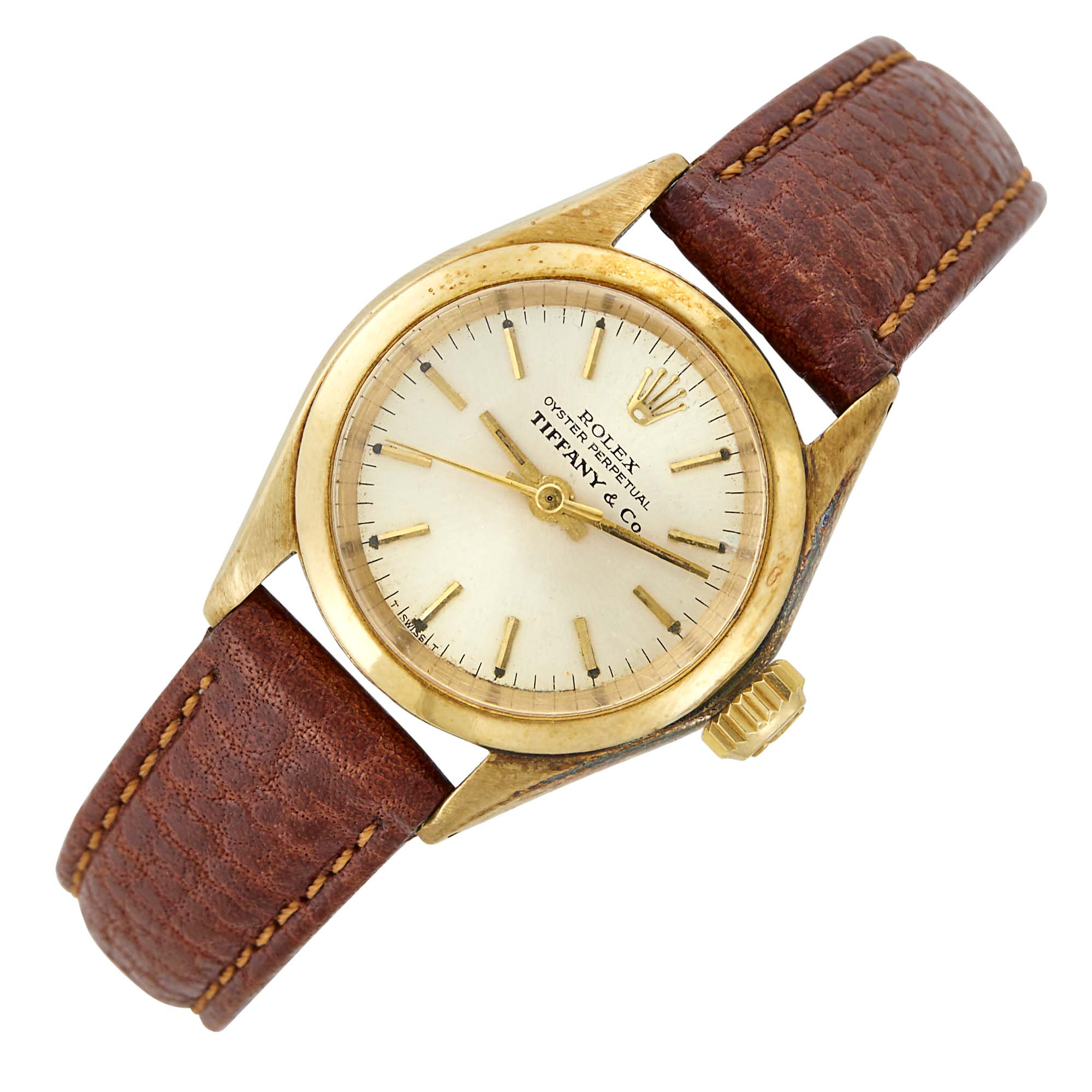 Lot image - Rolex Gold Oyster Perpetual Wristwatch, Retailed by Tiffany & Co.