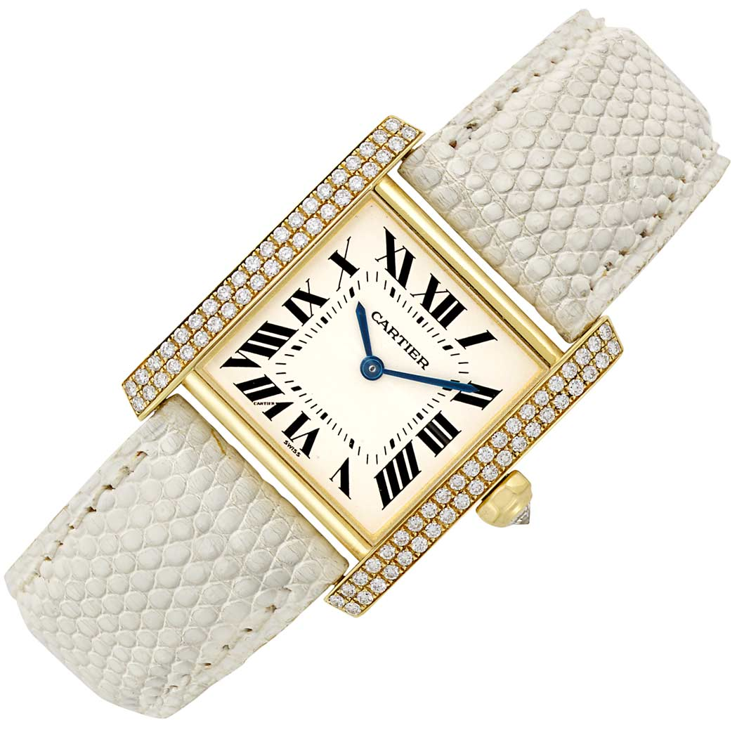 Lot image - Lady's Gold and Diamond 'Tank Francaise' Wristwatch, Cartier