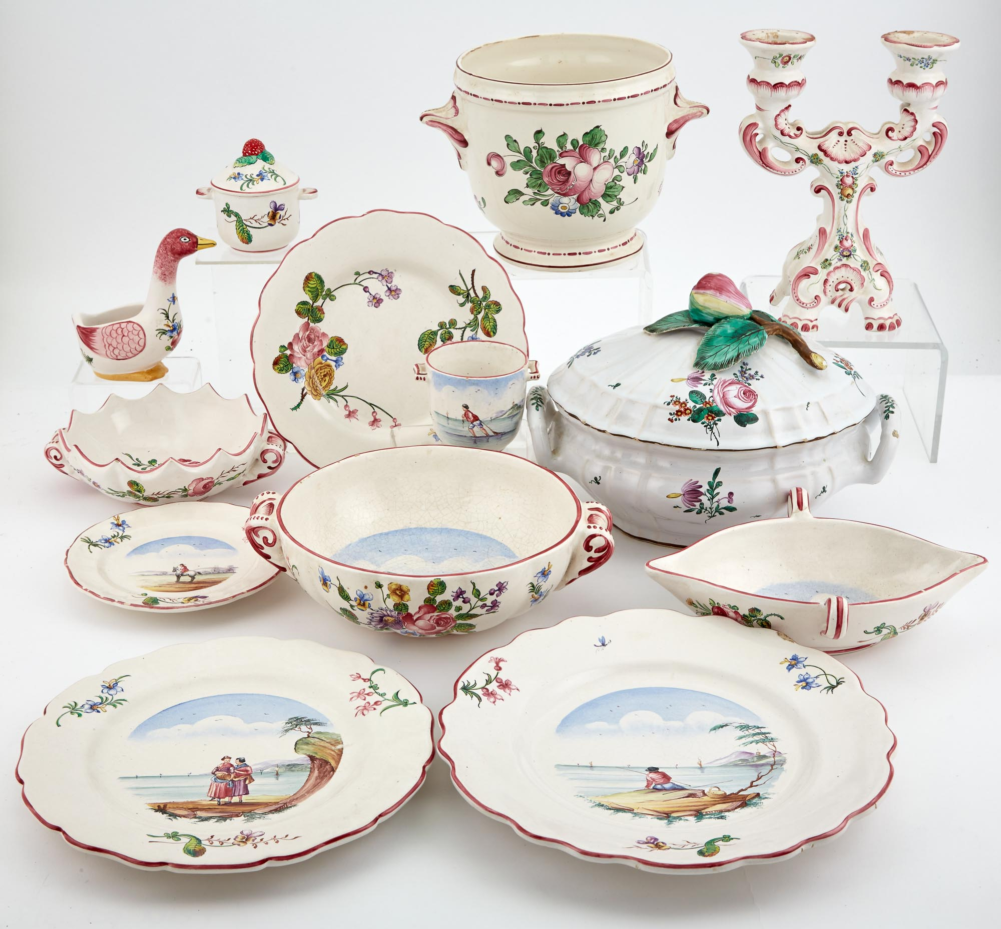 Lot image - French Polychrome Decorated Ceramic Dinner Service