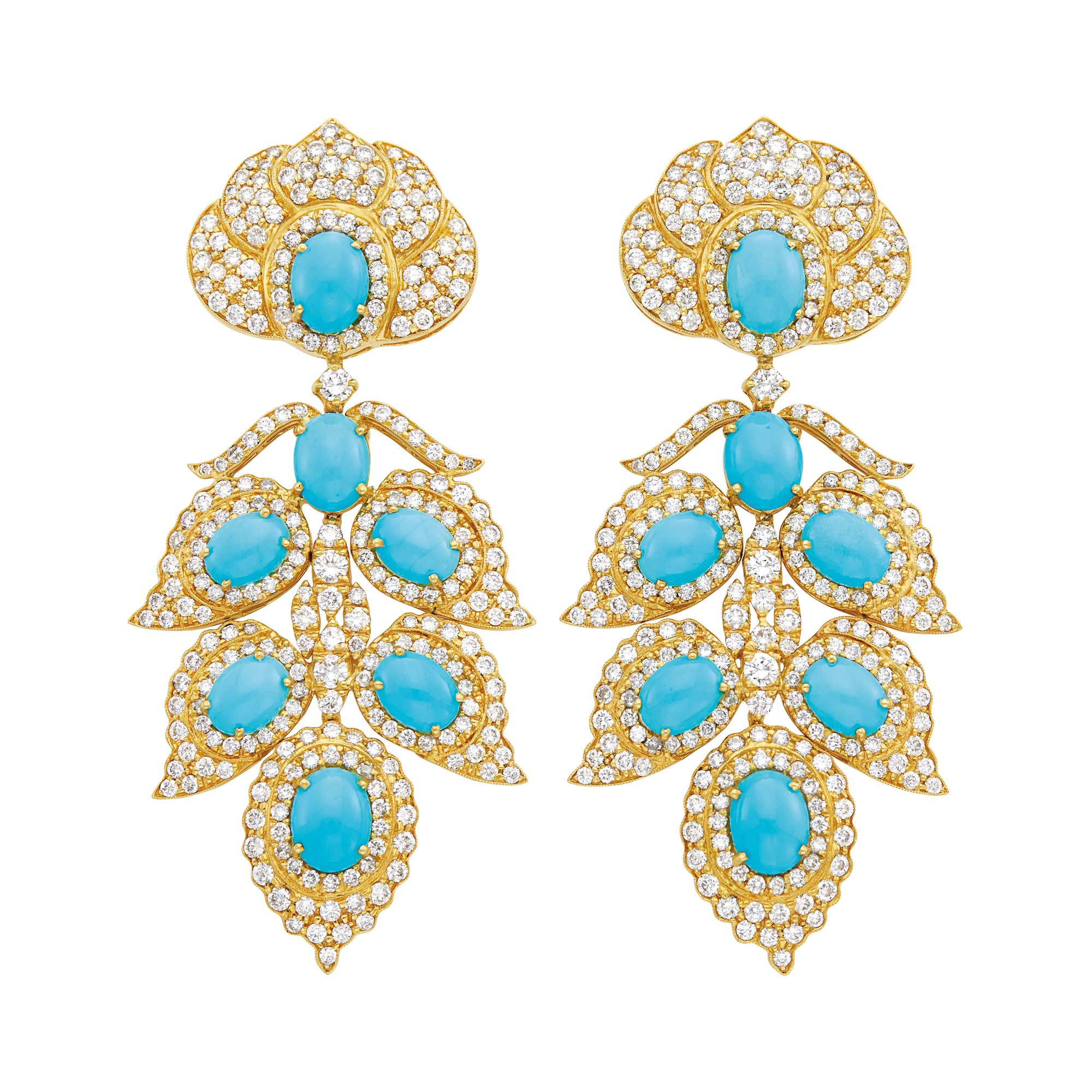 Lot image - Pair of Gold, Turquoise and Diamond Pendant-Earrings
