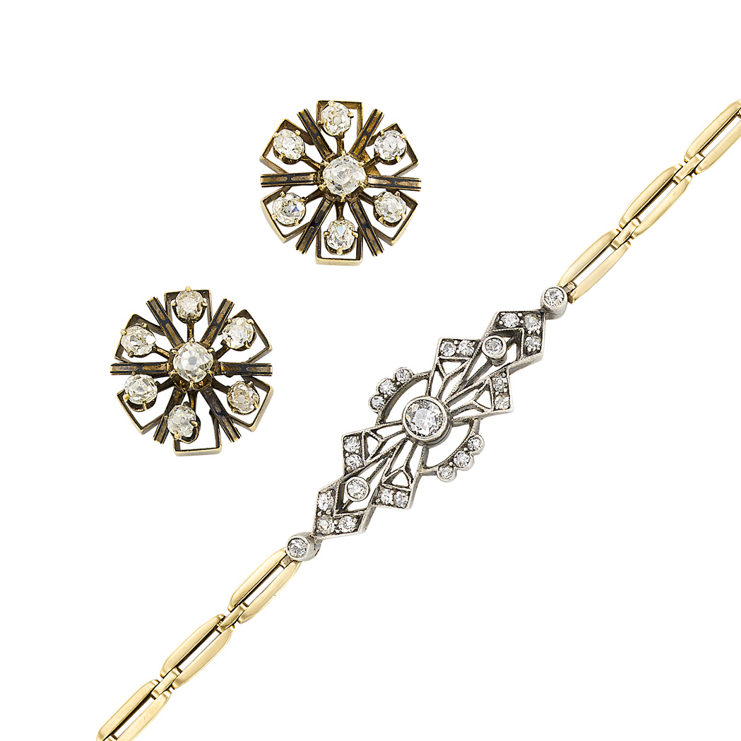 Lot image - Pair of Antique Gold and Diamond Earrings and Gold, Silver and Diamond Bracelet