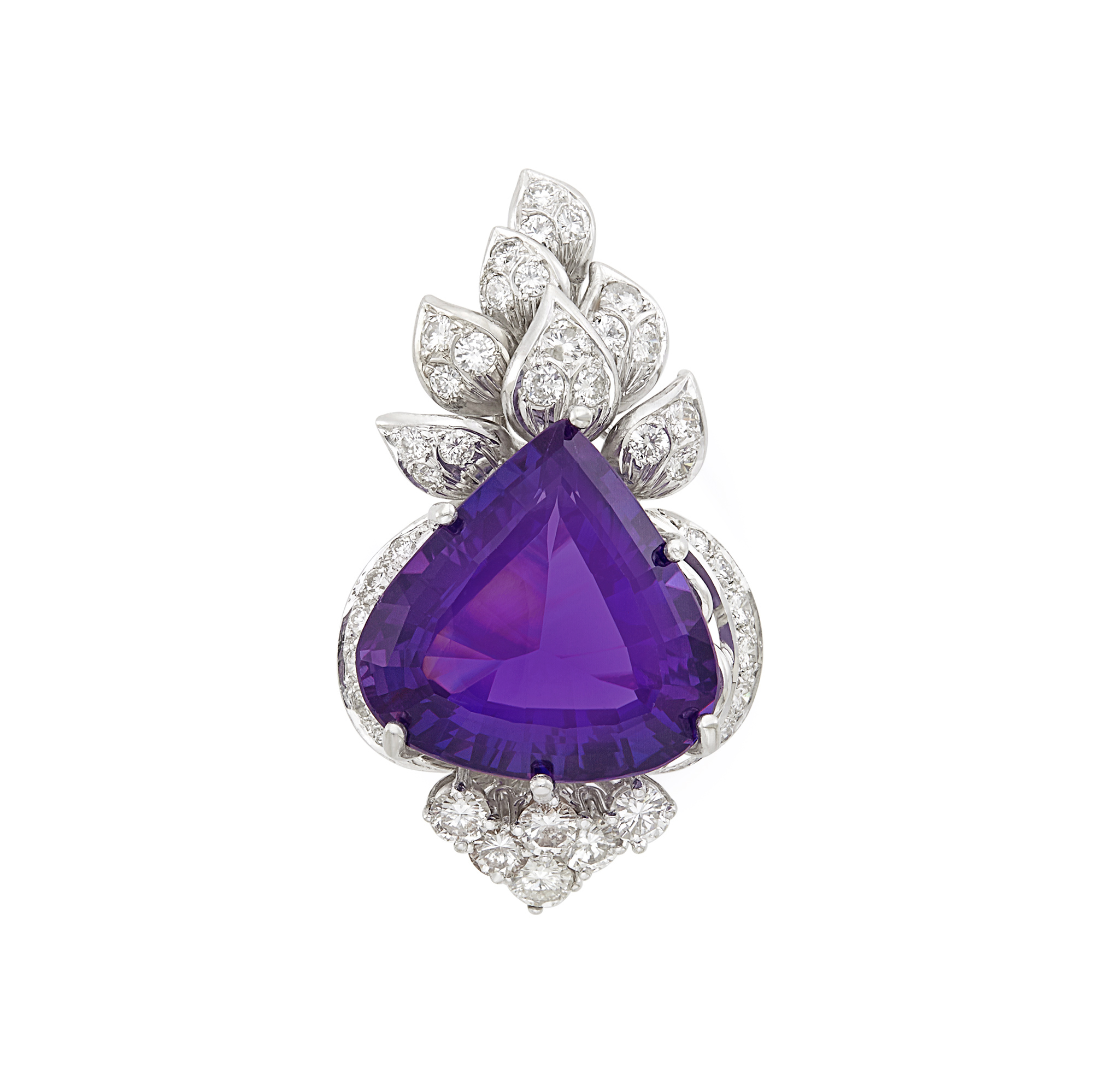 Lot image - White Gold, Amethyst and Diamond Ring