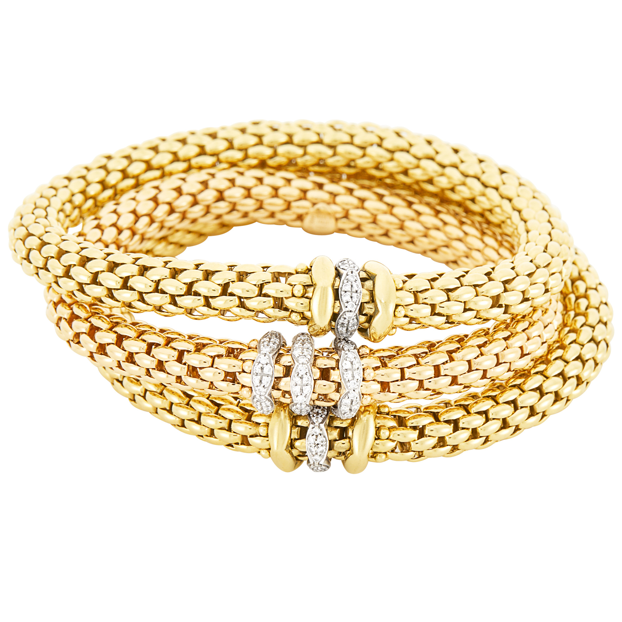 Lot image - Fope Three Gold and Rose Gold and Diamond FlexIT Bracelets