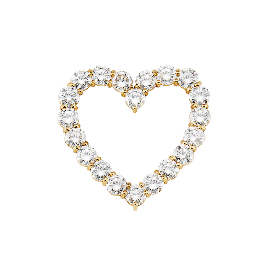 Lot image - Gold and Diamond Heart Pin, Tiffany & Co.