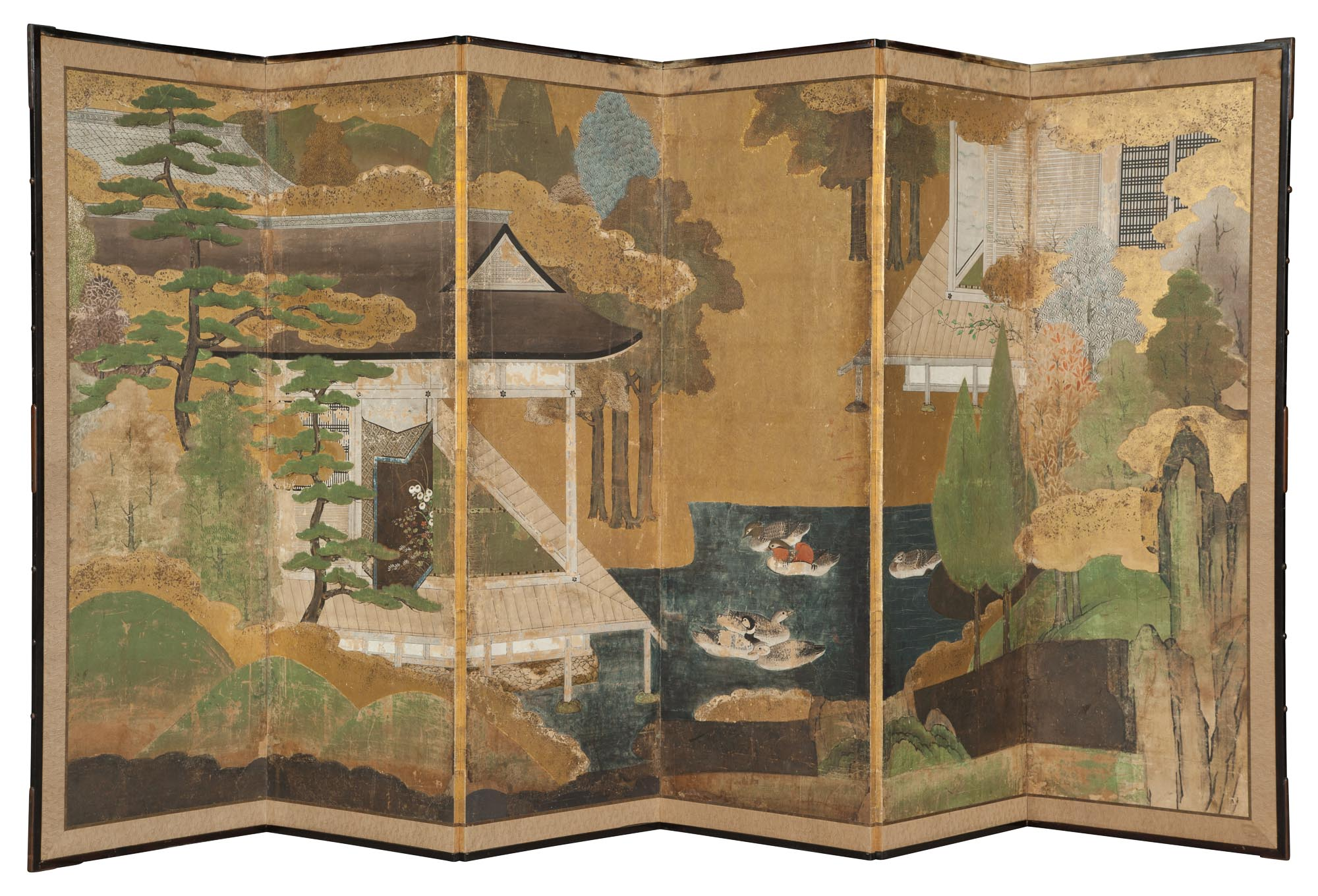 Lot image - Japanese Polychrome-Painted and Gilt-Decorated Paper and Silk-Edged Six-Panel Screen