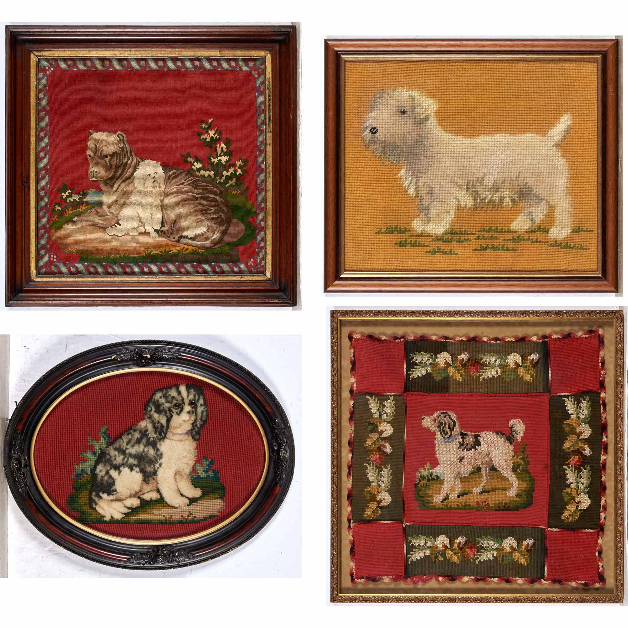 Lot image - Group of Four Framed Needlework Dog Pictures