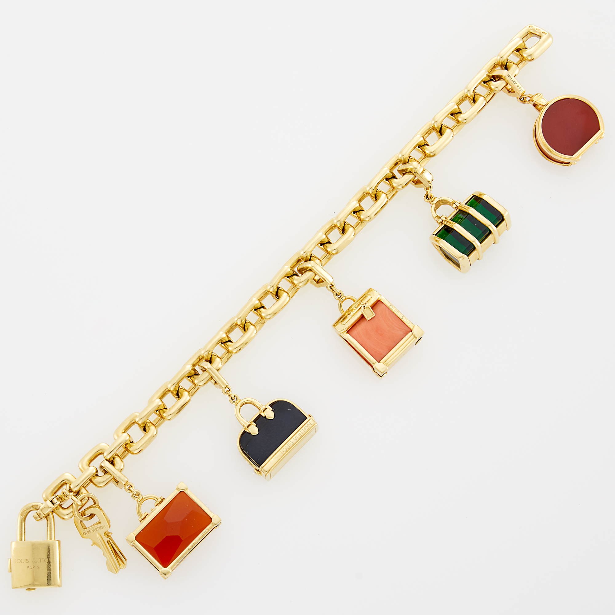 Lot image - Louis Vuitton Gold Luggage Charm Bracelet, France