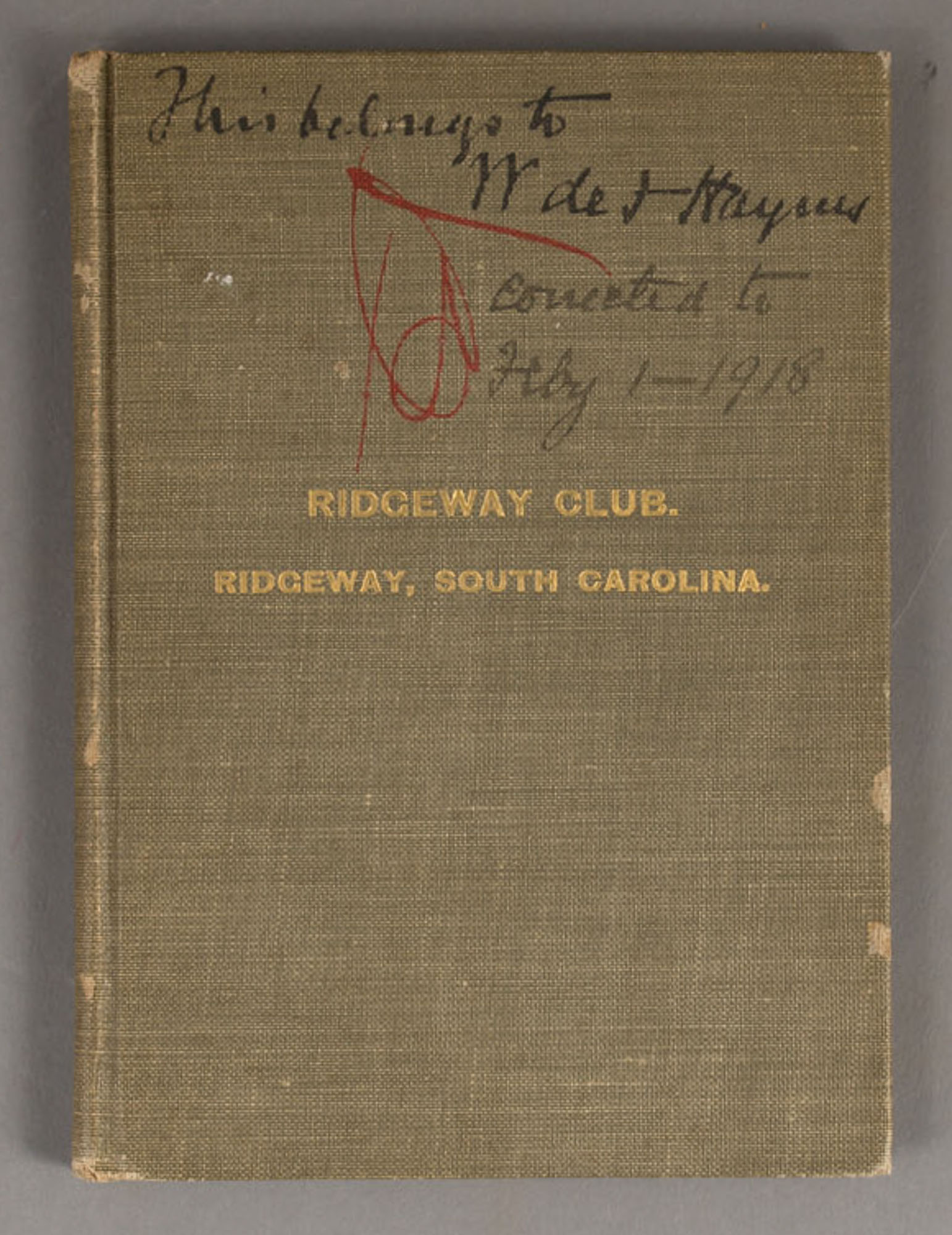 Lot image - Charter, By-Laws, Rules and Regulations of the Ridgeway Club. Incorporated Under the Laws of South Carolina.