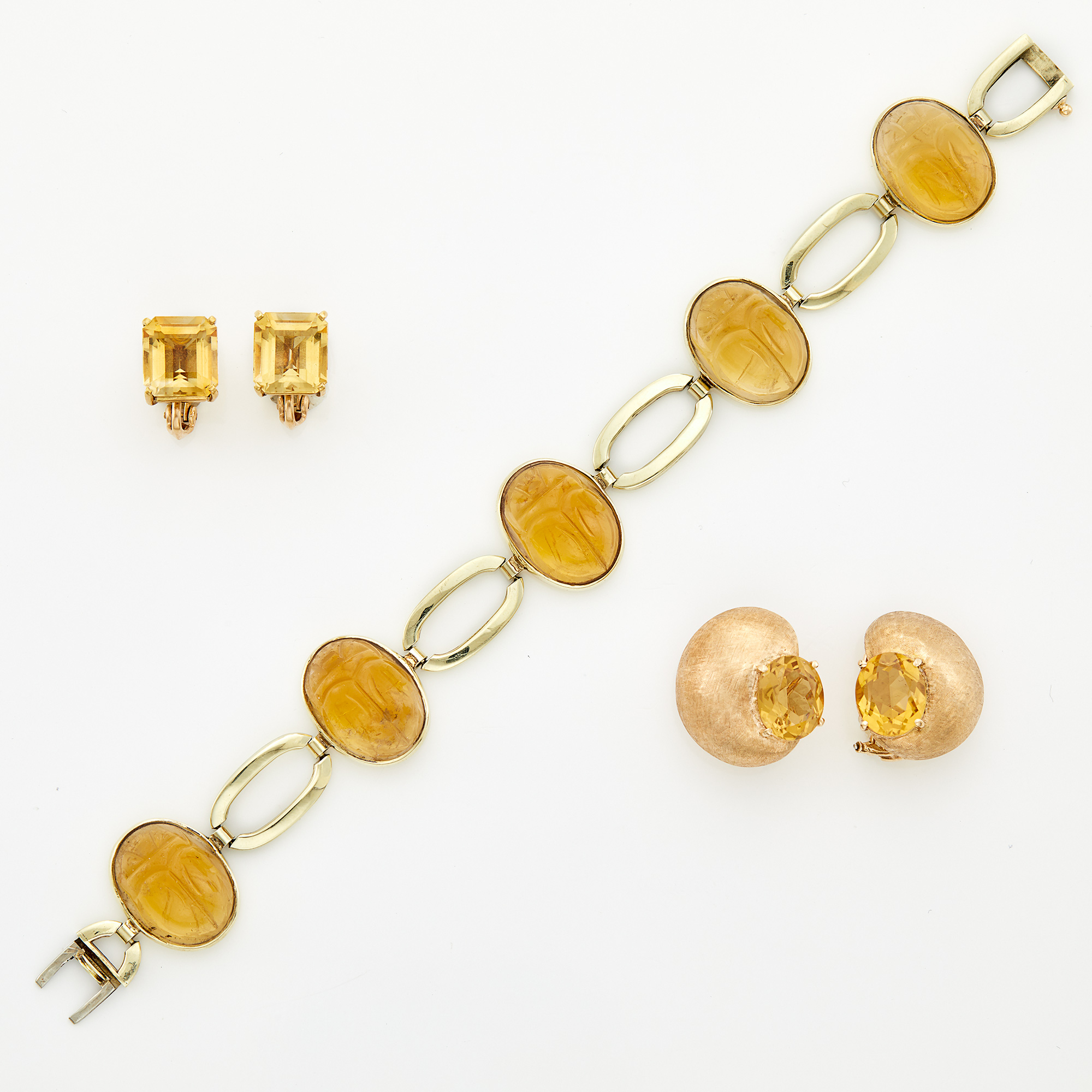 Lot image - Gold and Citrine Scarab Bracelet, Cartier, and Two Pairs of Gold and Citrine Earclips