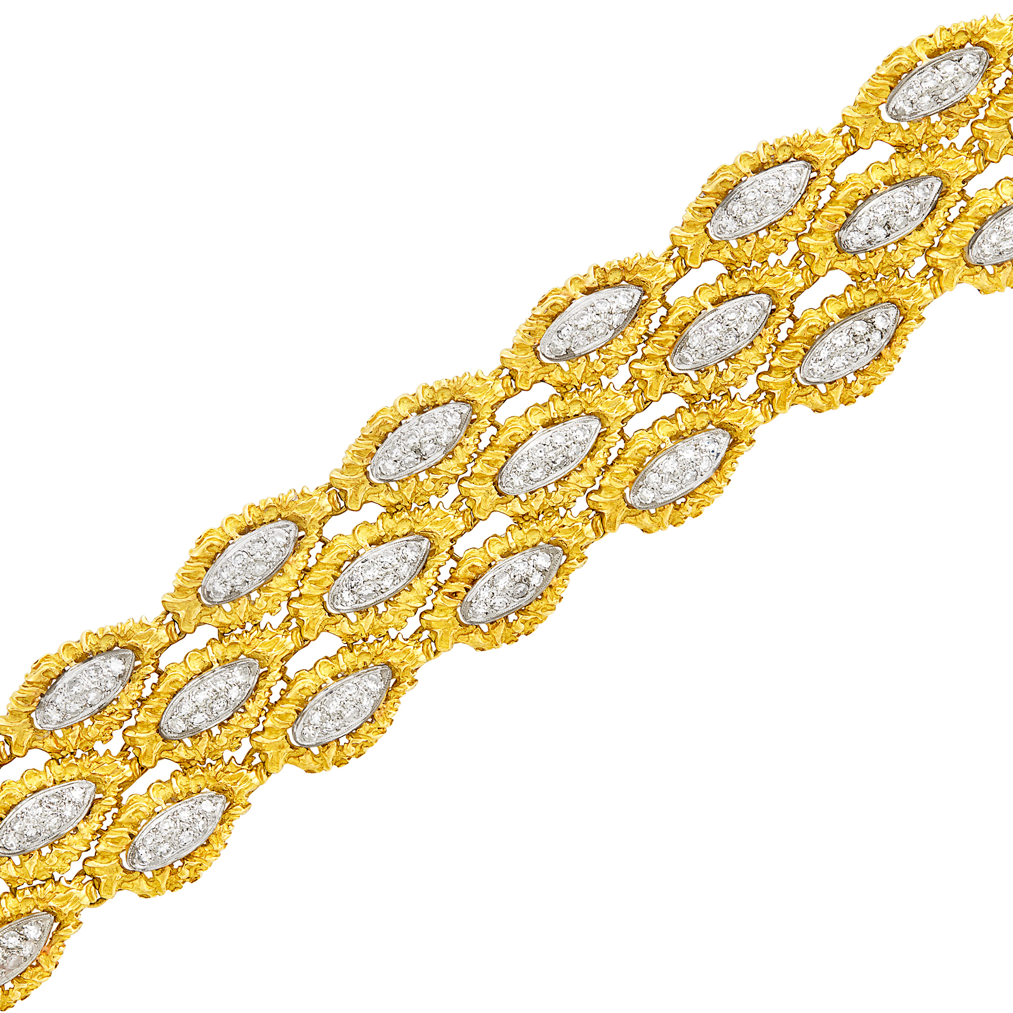 Lot image - Wide Two-Color Gold and Diamond Bracelet, France