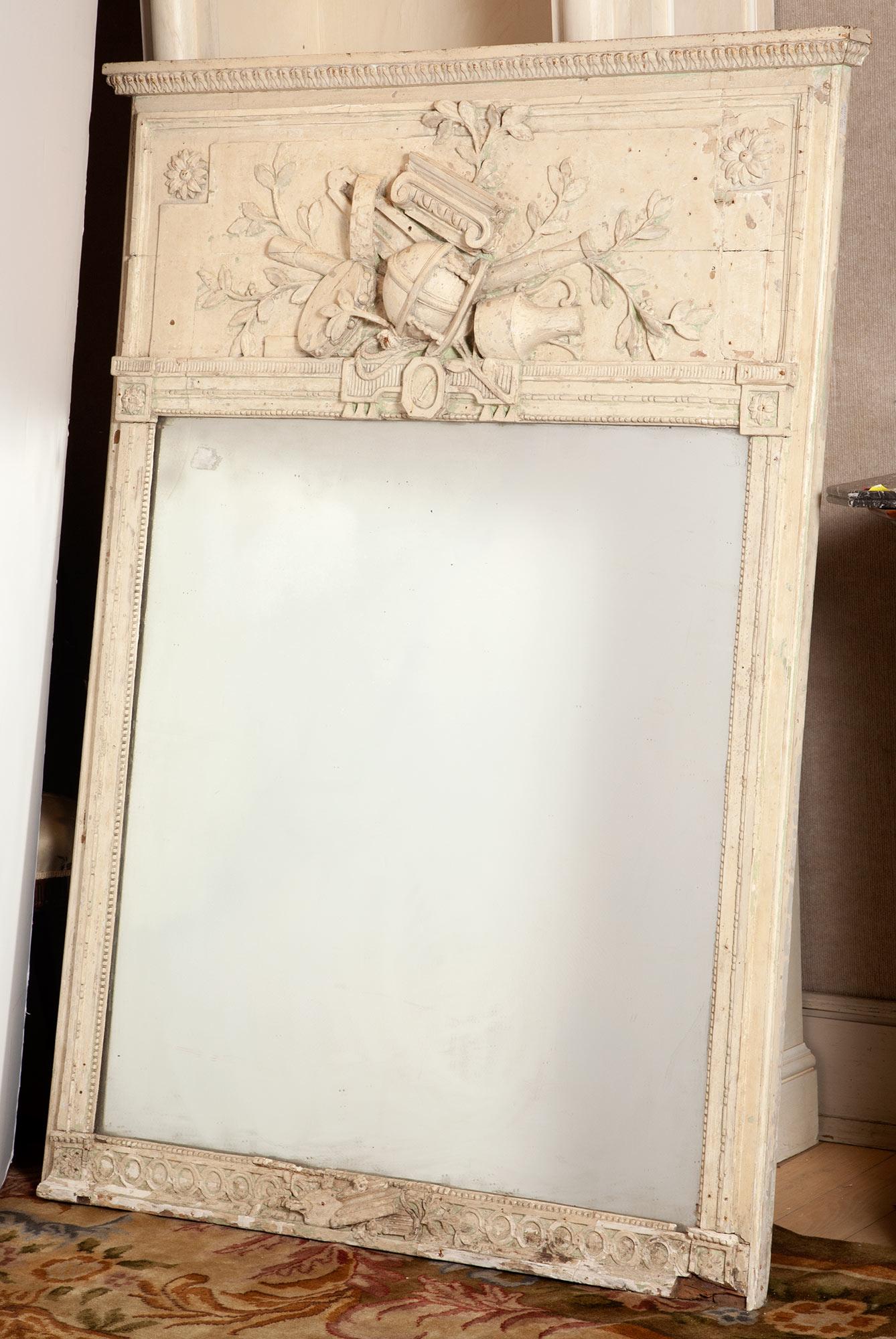 Lot image - Continental Neoclassical White Painted Trumeau Mirror