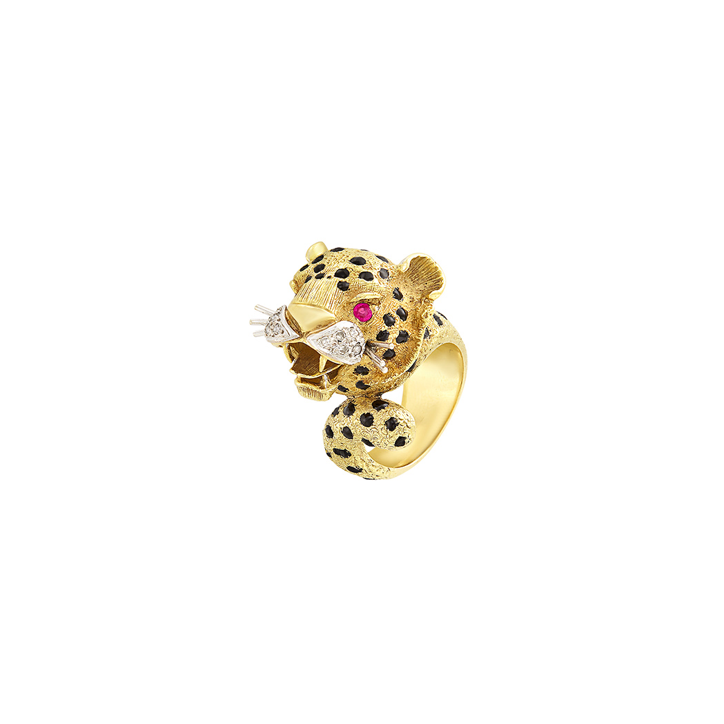 Lot image - Gold, Black Enamel, Ruby and Diamond Leopard Ring