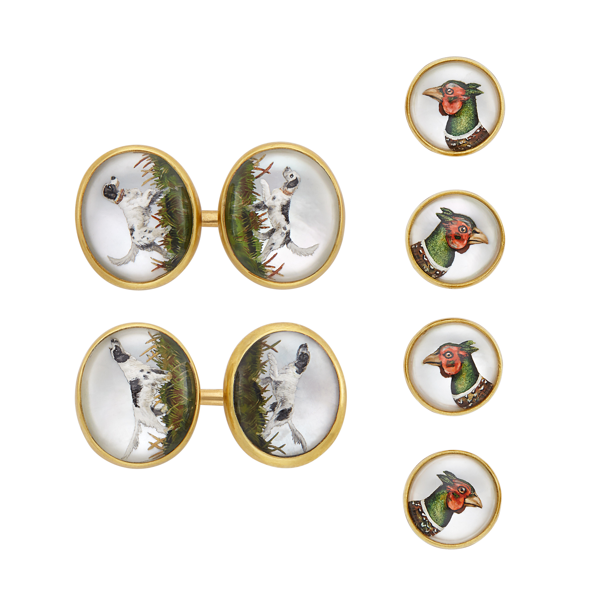 Lot image - Four Gold and Reverse Crystal Intaglio Studs, Asprey, and Pair of Gold and Reverse Crystal Intaglio Cufflinks