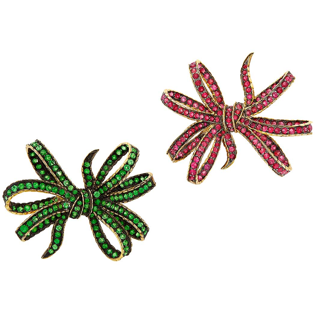 Lot image - Pair of Gold, Green Garnet and Red Spinel Bow Clip-Brooches